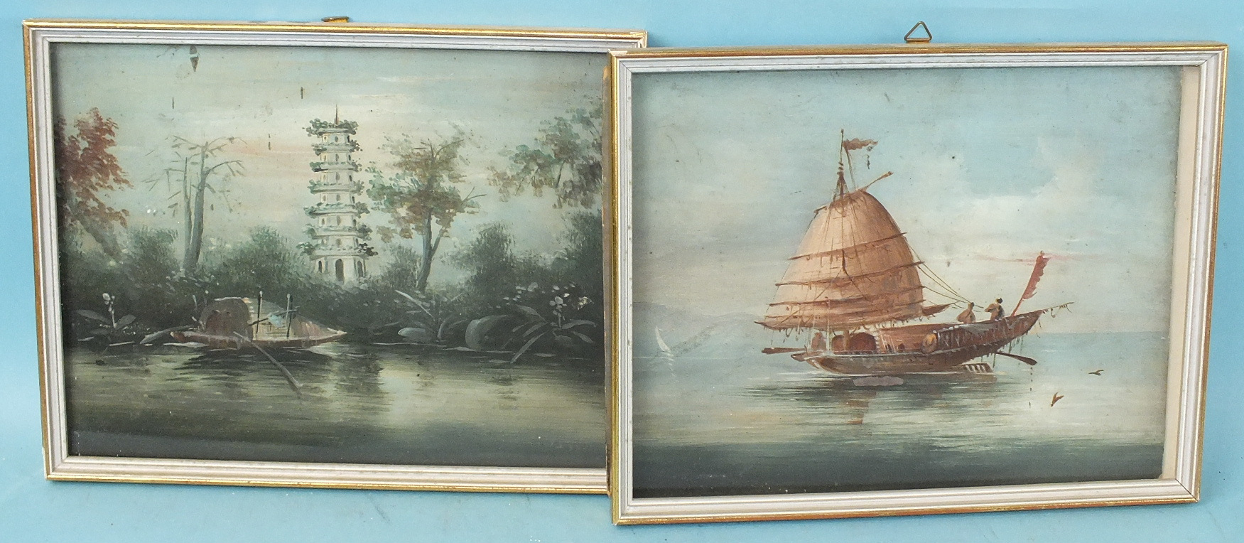 Lot 87 - Chinese Export School, a group of four unsigned Chinese watercolours, junks and landscape scenes, 20