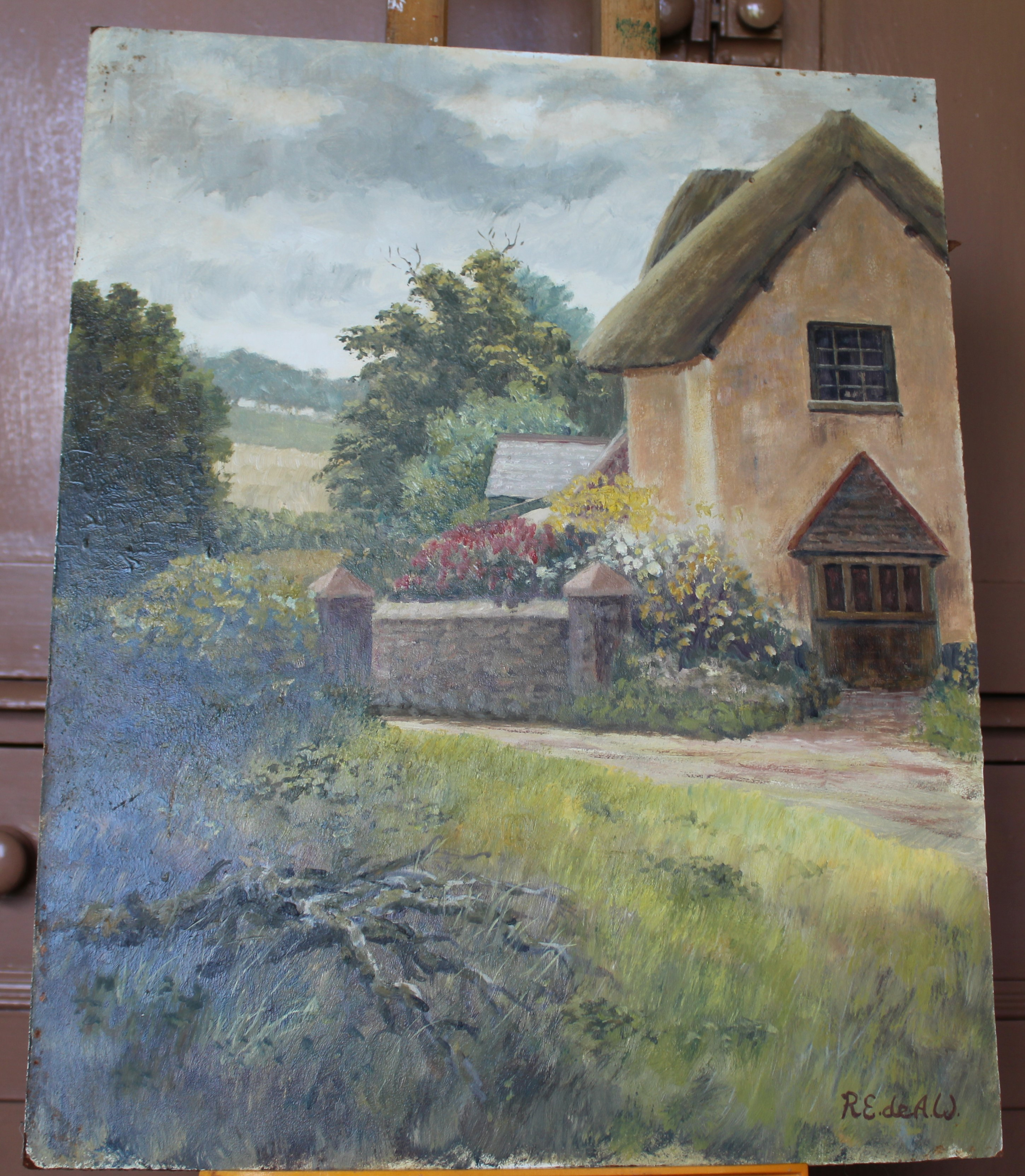 •FIGURES OUTSIDE A FARM BUILDING Signed unframed oil on board, 45.5 x 60.5cm and two other oils on - Image 3 of 4