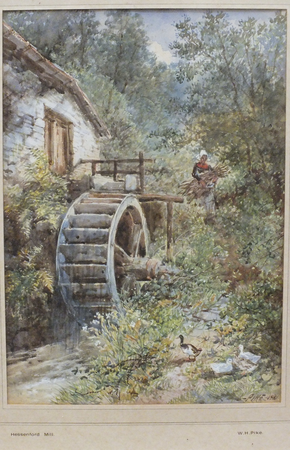 Lot 76 - William Henry Pike (1846-1908) HESSENFORD MILL Signed watercolour, dated 1881, titled on mount, 34 x