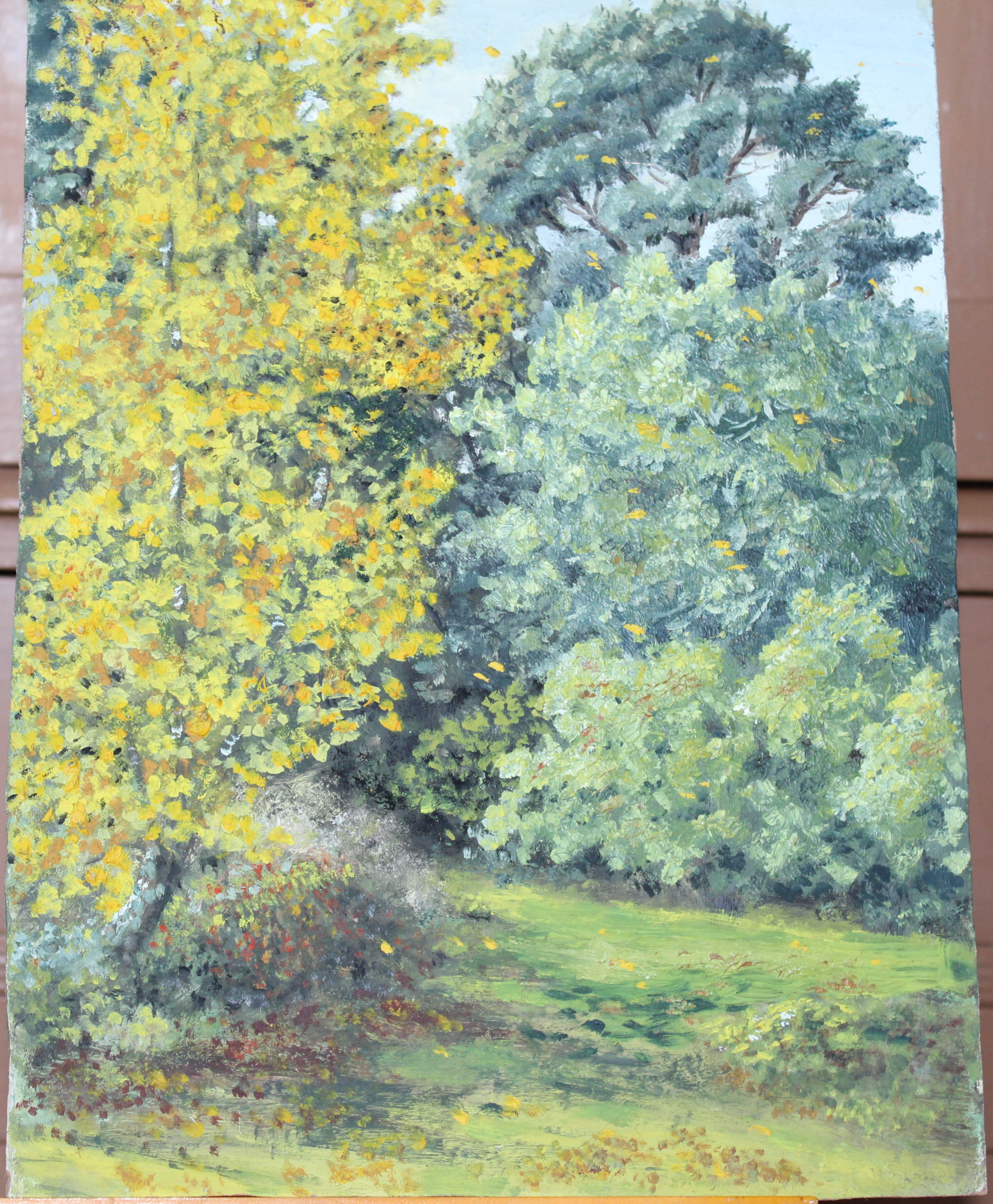 •A collection of fourteen unsigned and signed unframed landscape oil paintings on board, including - Image 9 of 11