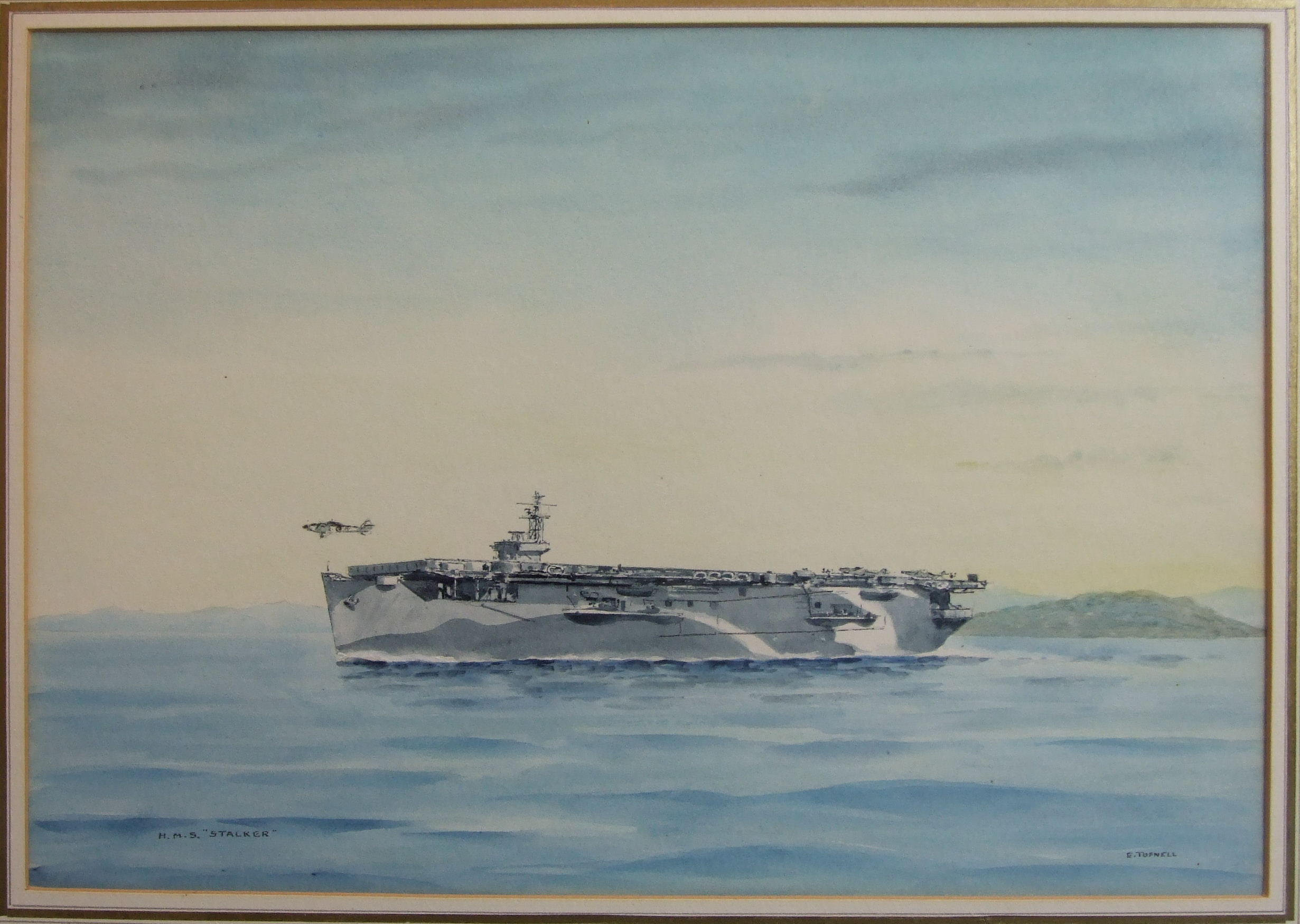 •Eric Erskine Campbell Tufnell (1888-1978) HMS STALKER D91 ESCORT AIRCRAFT CARRIER Signed and titled