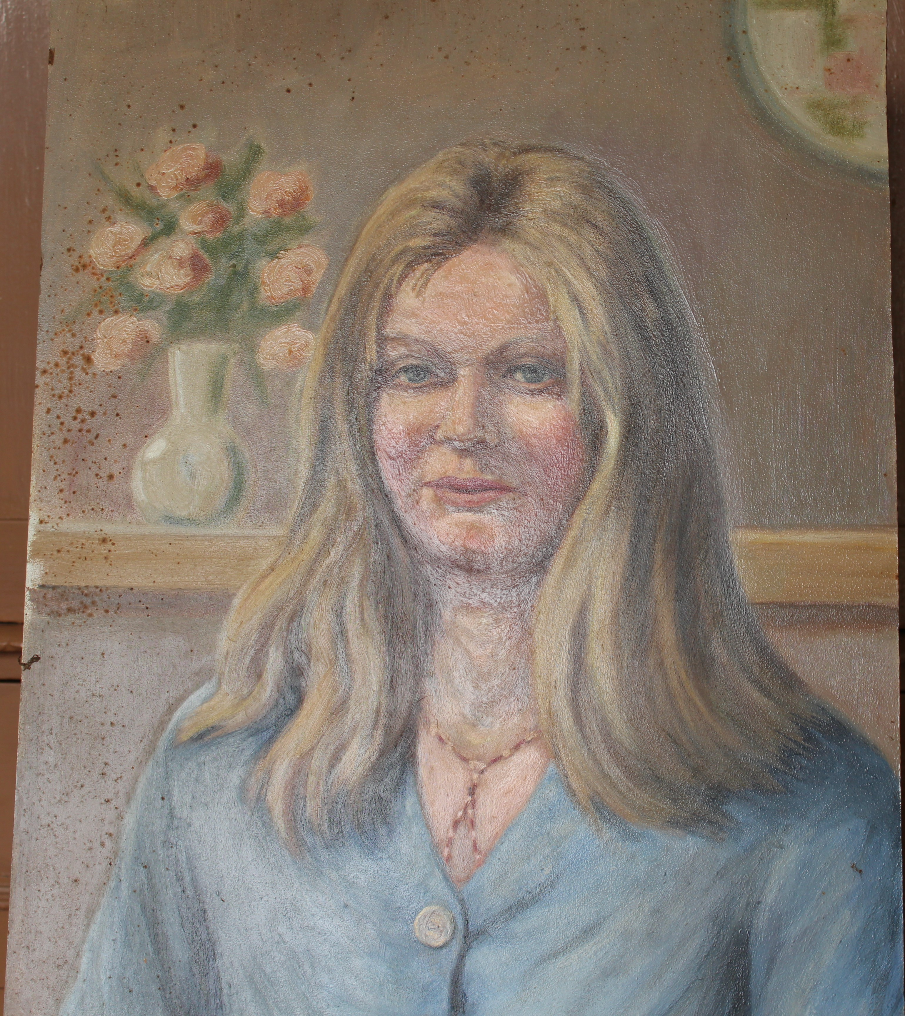 •PORTRAIT OF A WOMAN WEARING A BLUE TOP Unsigned unframed oil on board, 50 x 40.5cm and a collection - Image 8 of 9