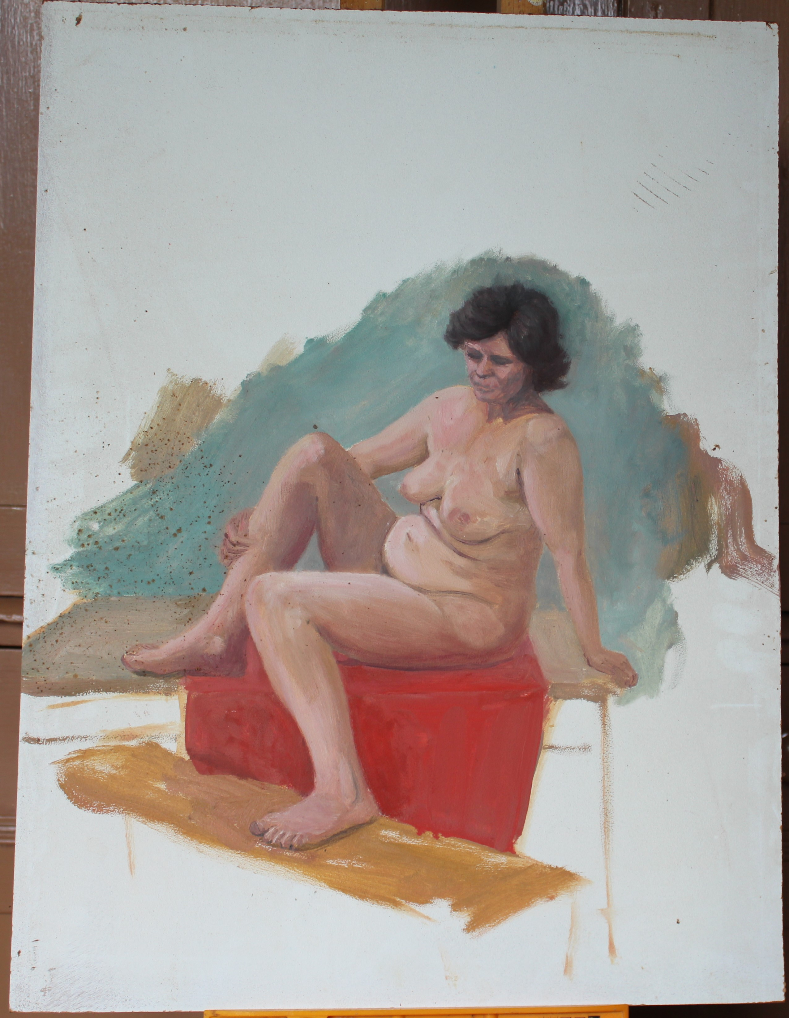 •STUDY OF A NUDE WOMAN IN GREEN-DRAPED ARMCHAIR Unsigned unframed oil on board, 40 x 31cm, STUDY - Image 5 of 7