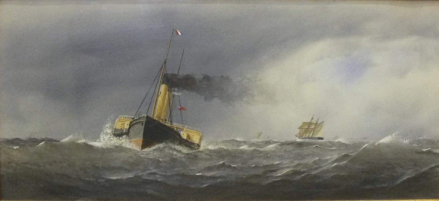 Lot 74 - Henry Eustace Tozer 1870-1940 THE STEAM TUG LYONS IN CHOPPY SEA WITH OTHER VESSELS IN THE DISTANCE
