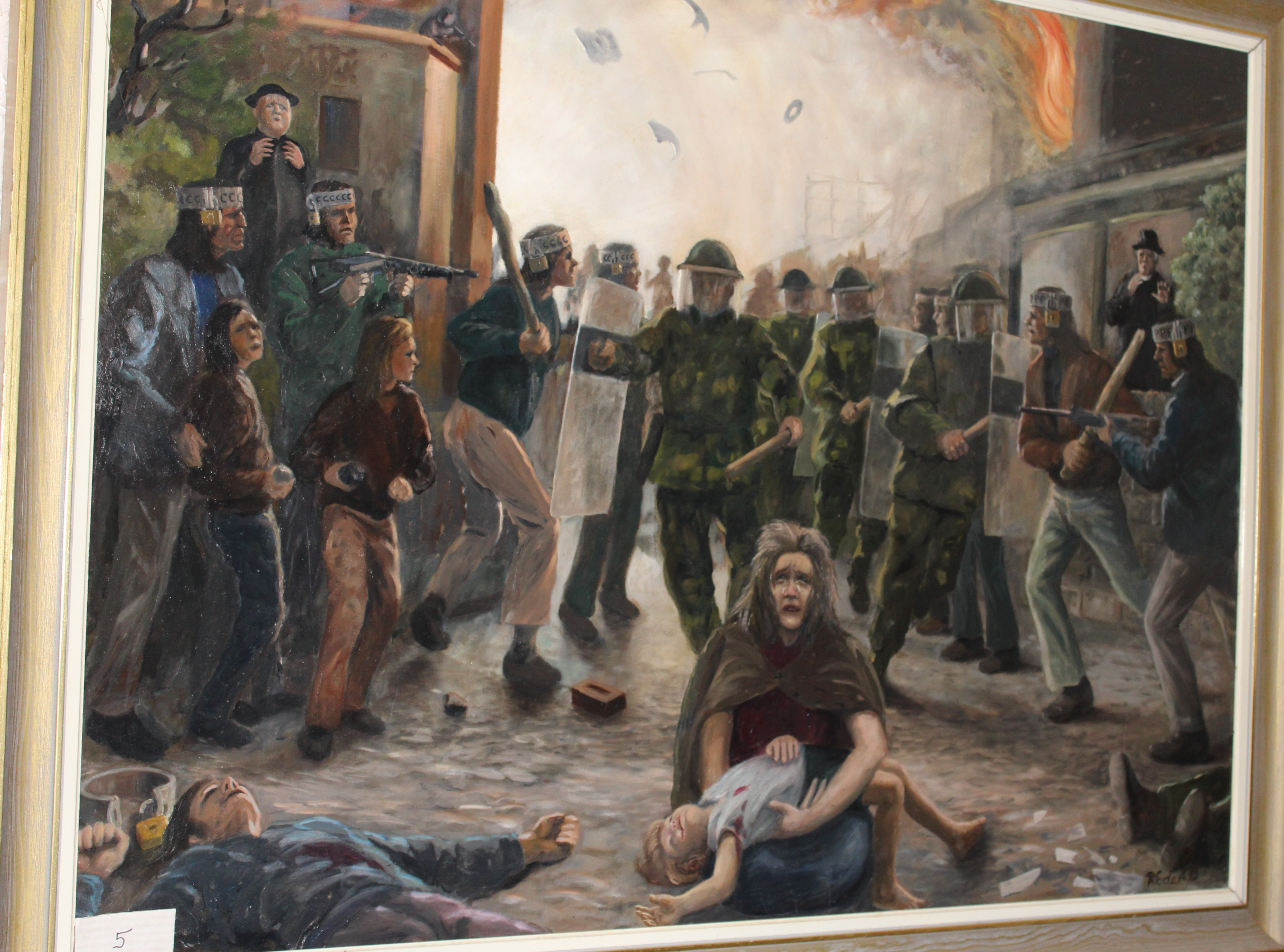 •ULSTER, A TRAGEDY OF LOCKED MINDS Signed framed oil on board, dated 1973, 89 x 120cm, titled on