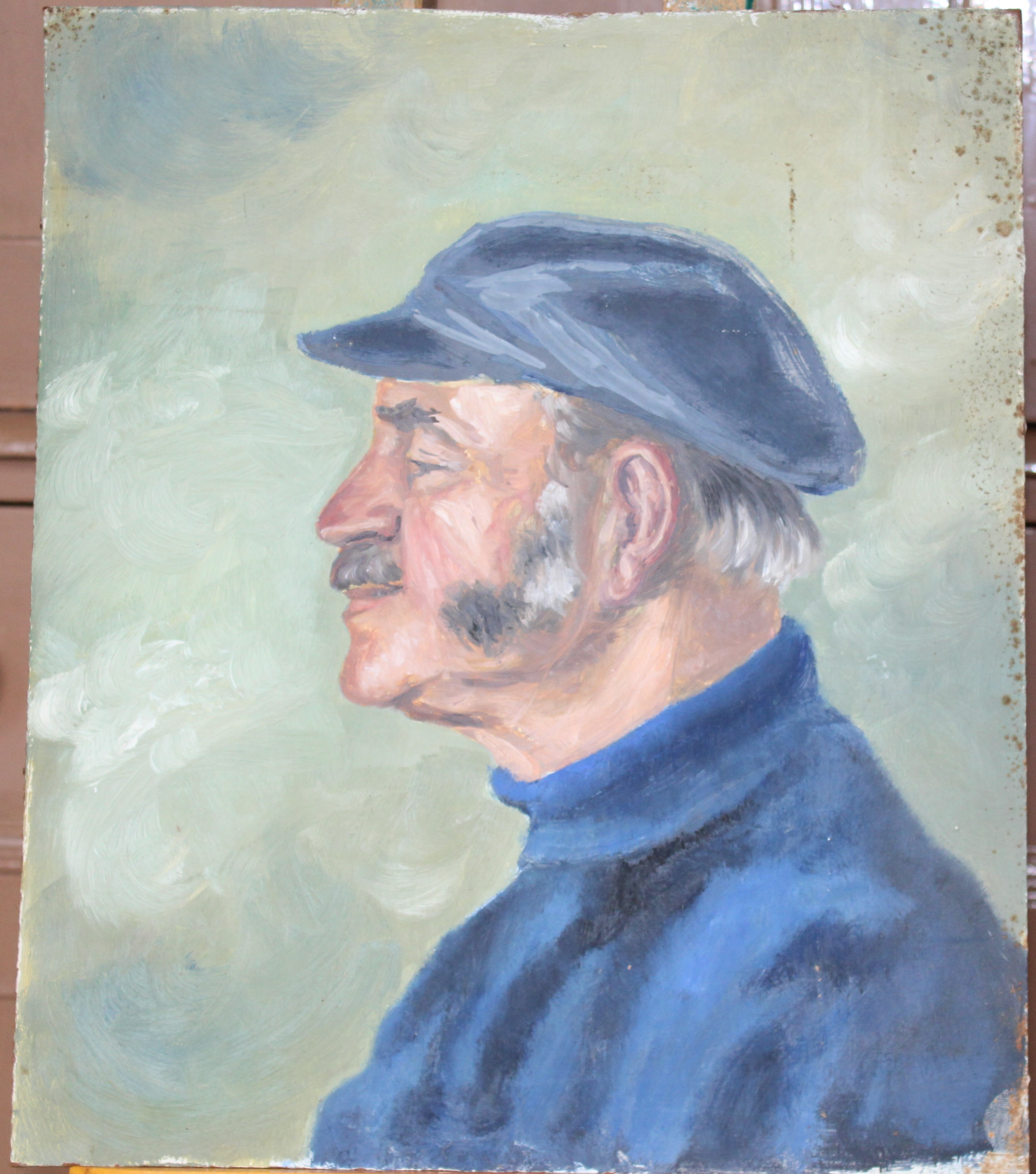 •FISHERMAN SMOKING A PIPE, SITTING ON A CAPSTAN Signed, unframed oil on board, 60.5 x 45cm and two - Image 3 of 3