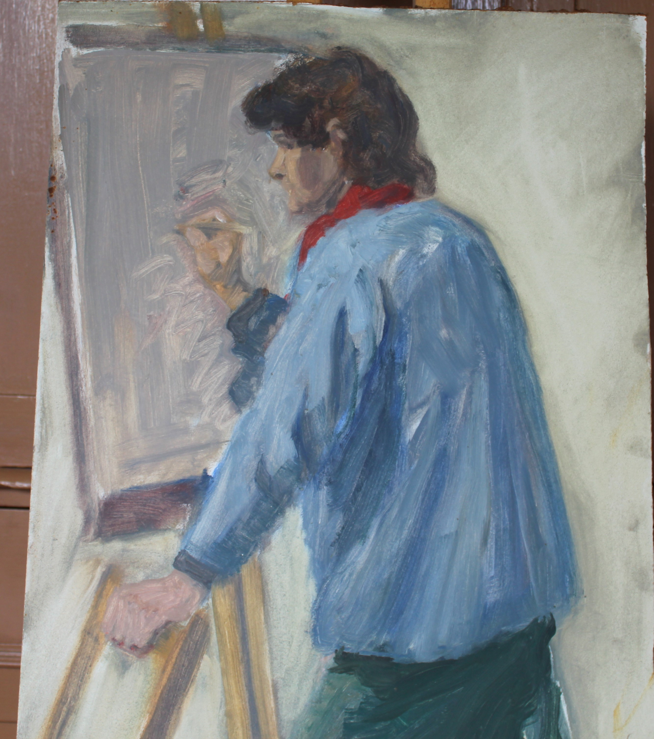 •TWO FIGURES SITTING ON A CLIFF TOP PAINTING A COASTAL SCENE Signed unframed oil on board, 30.5 x - Image 6 of 7