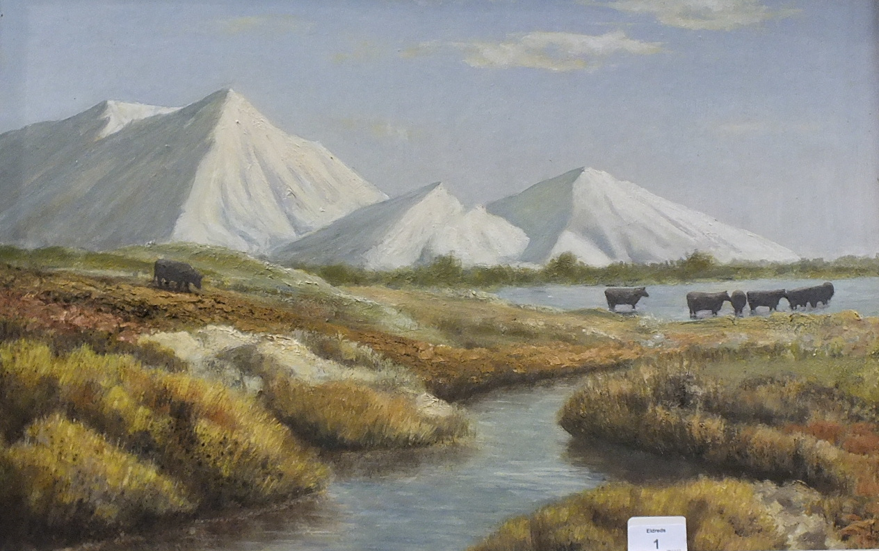 •CHINA CLAY ALPS, DARTMOOR Unsigned framed oil on board, 39 x 59cm and LEE MOOR ALPS, framed oil