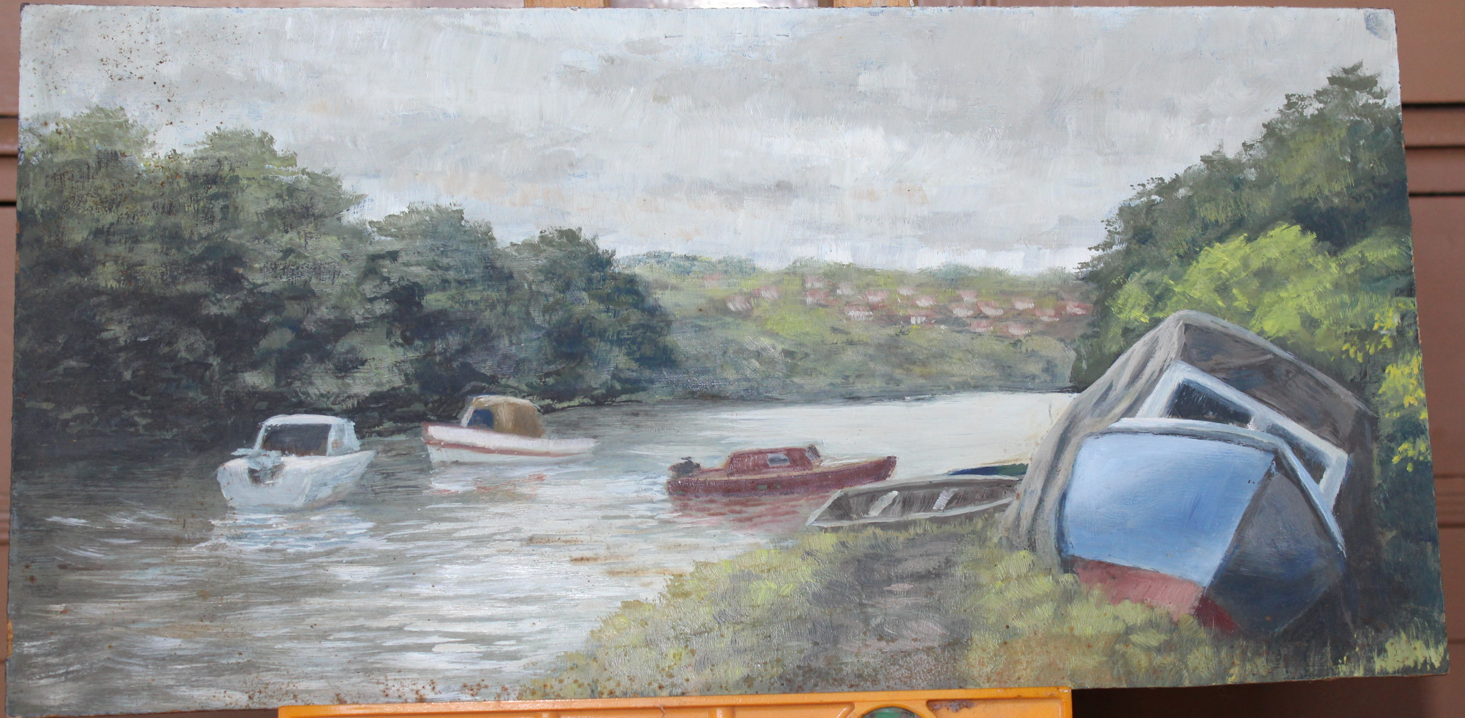 •LOPWELL Unsigned unframed oil on board, 27.5 x 45.5cm, labelled verso, sold together with three - Image 2 of 3