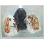 "•Pauline Edwards ""TEAL, SHOUTER, AMBER"", PORTRAIT OF THREE COCKER SPANIELS Signed pastel, dated"