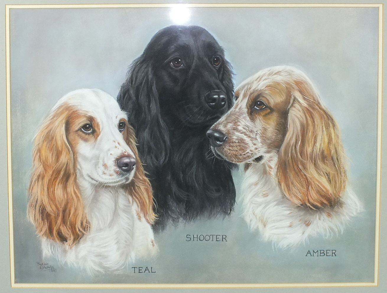 """•Pauline Edwards """"TEAL, SHOUTER, AMBER"""", PORTRAIT OF THREE COCKER SPANIELS Signed pastel, dated"""
