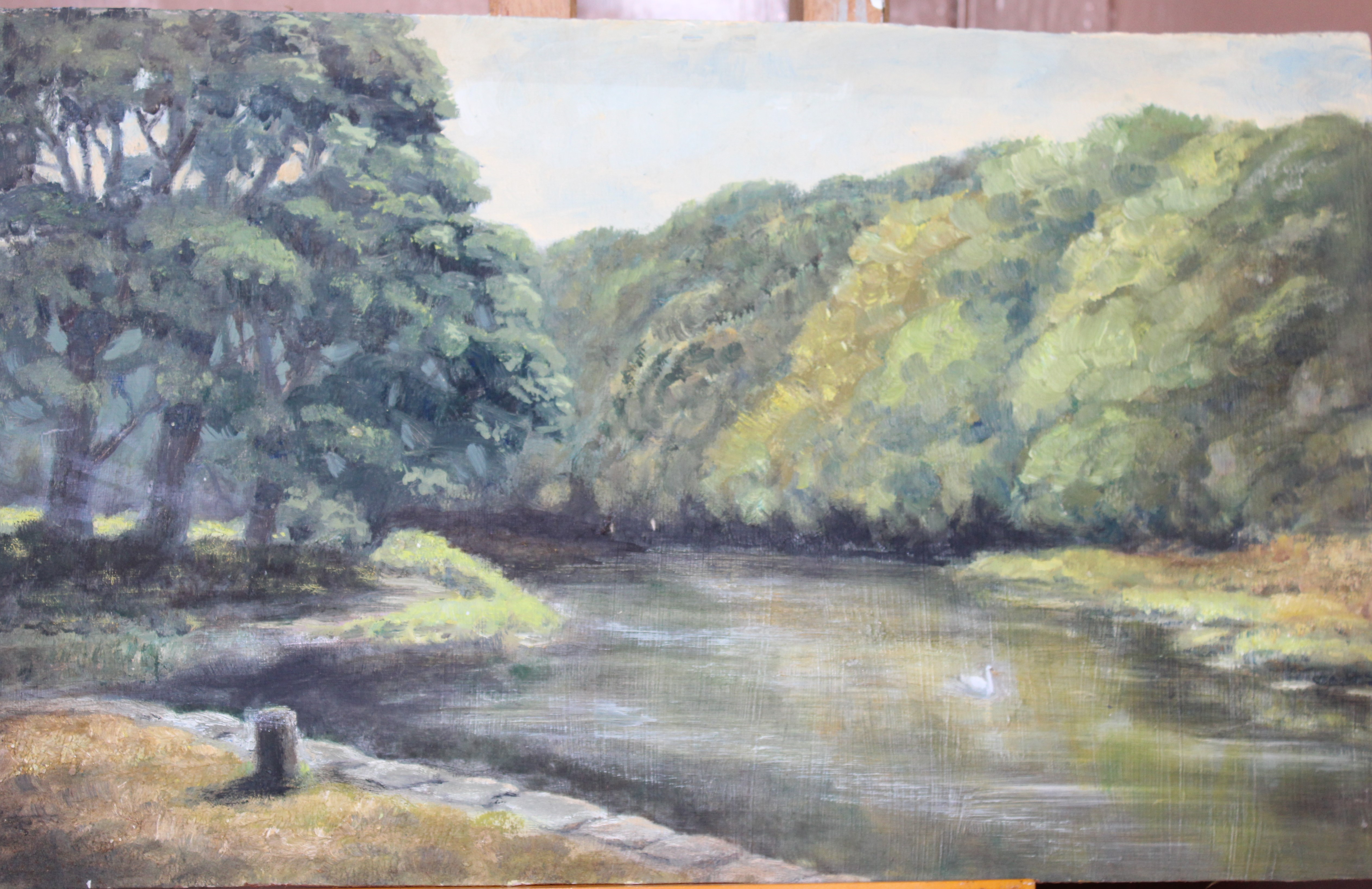 •LOPWELL Unsigned unframed oil on board, 27.5 x 45.5cm, labelled verso, sold together with three