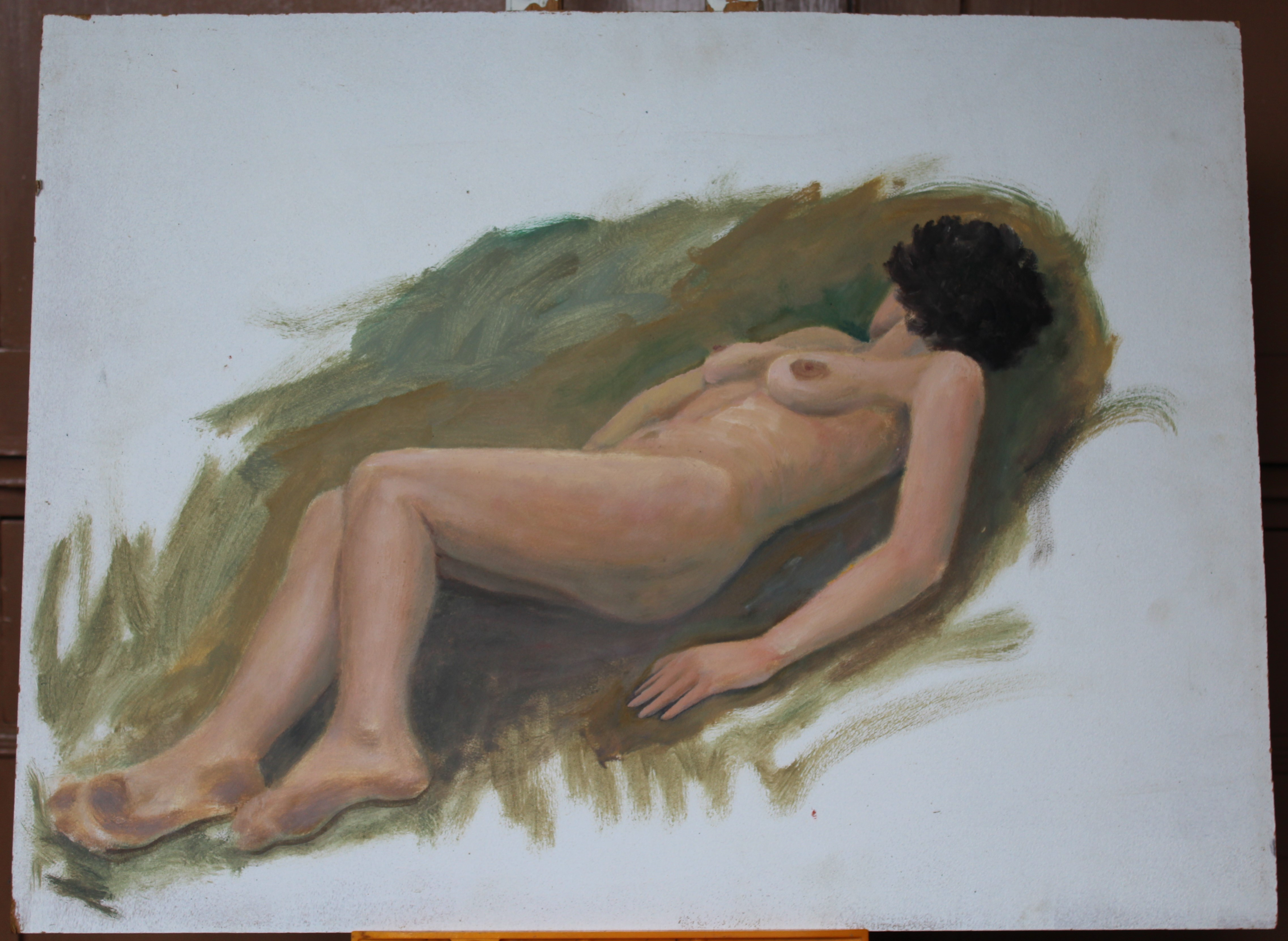 •STUDY OF A FEMALE NUDE RECLINING ON A DAY BED Unsigned unframed oil on board, 46 x 61cm, three - Image 4 of 4