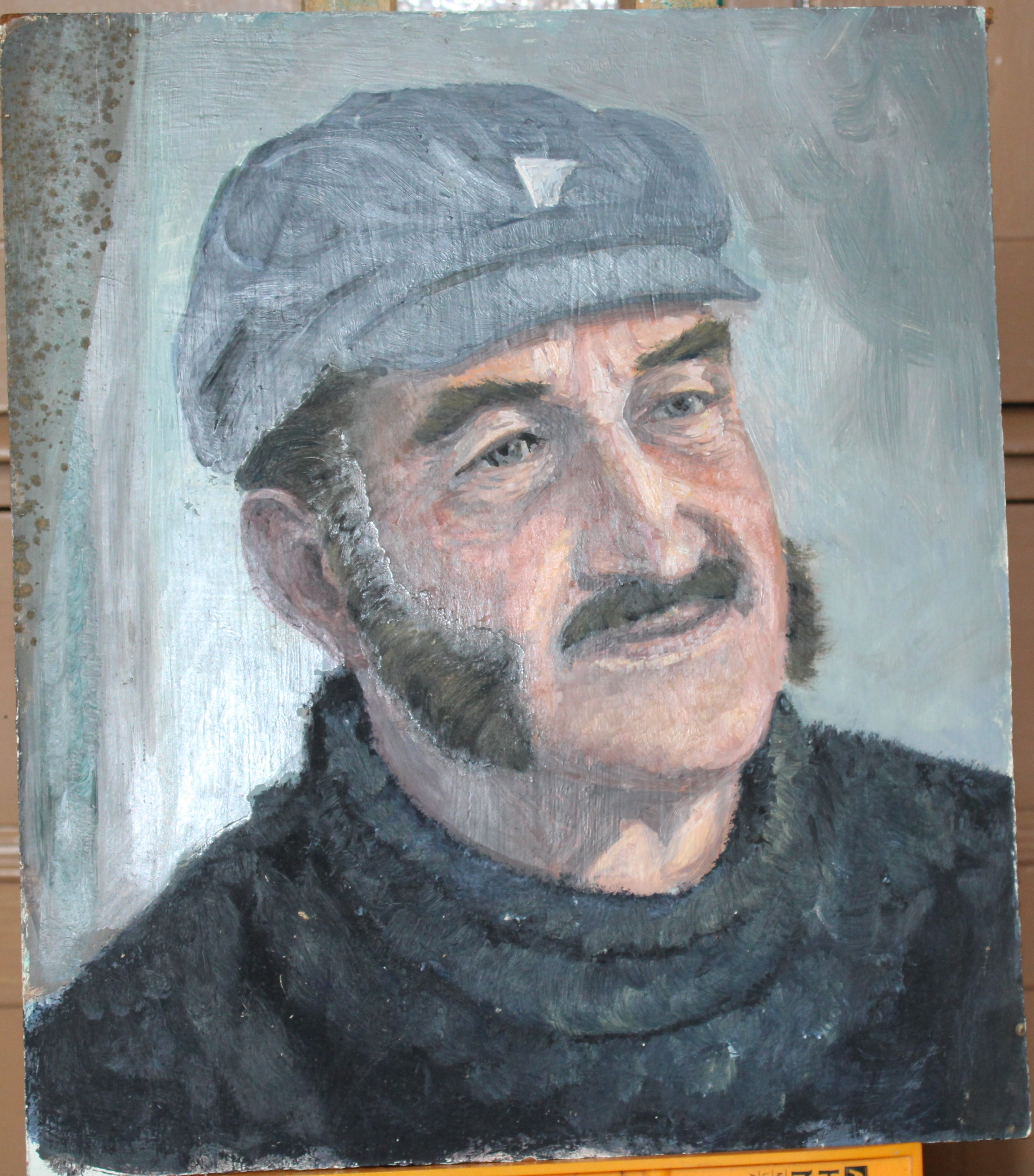 •FISHERMAN SMOKING A PIPE, SITTING ON A CAPSTAN Signed, unframed oil on board, 60.5 x 45cm and two - Image 2 of 3