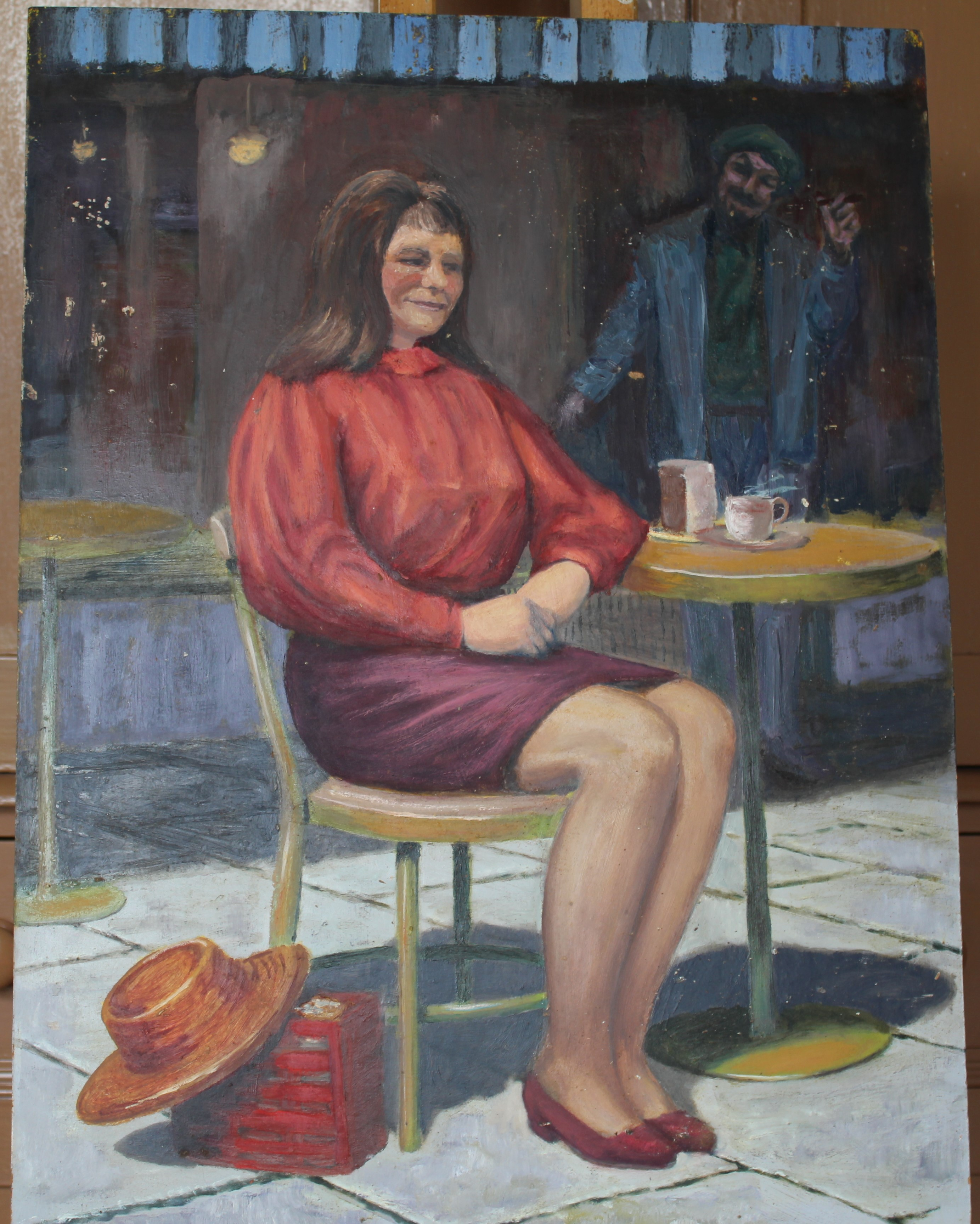 •YOUNG WOMAN SEATED ON CHAISE LONGUE Unsigned unframed oil on board, 61 x 45cm and six other oils of - Image 6 of 7