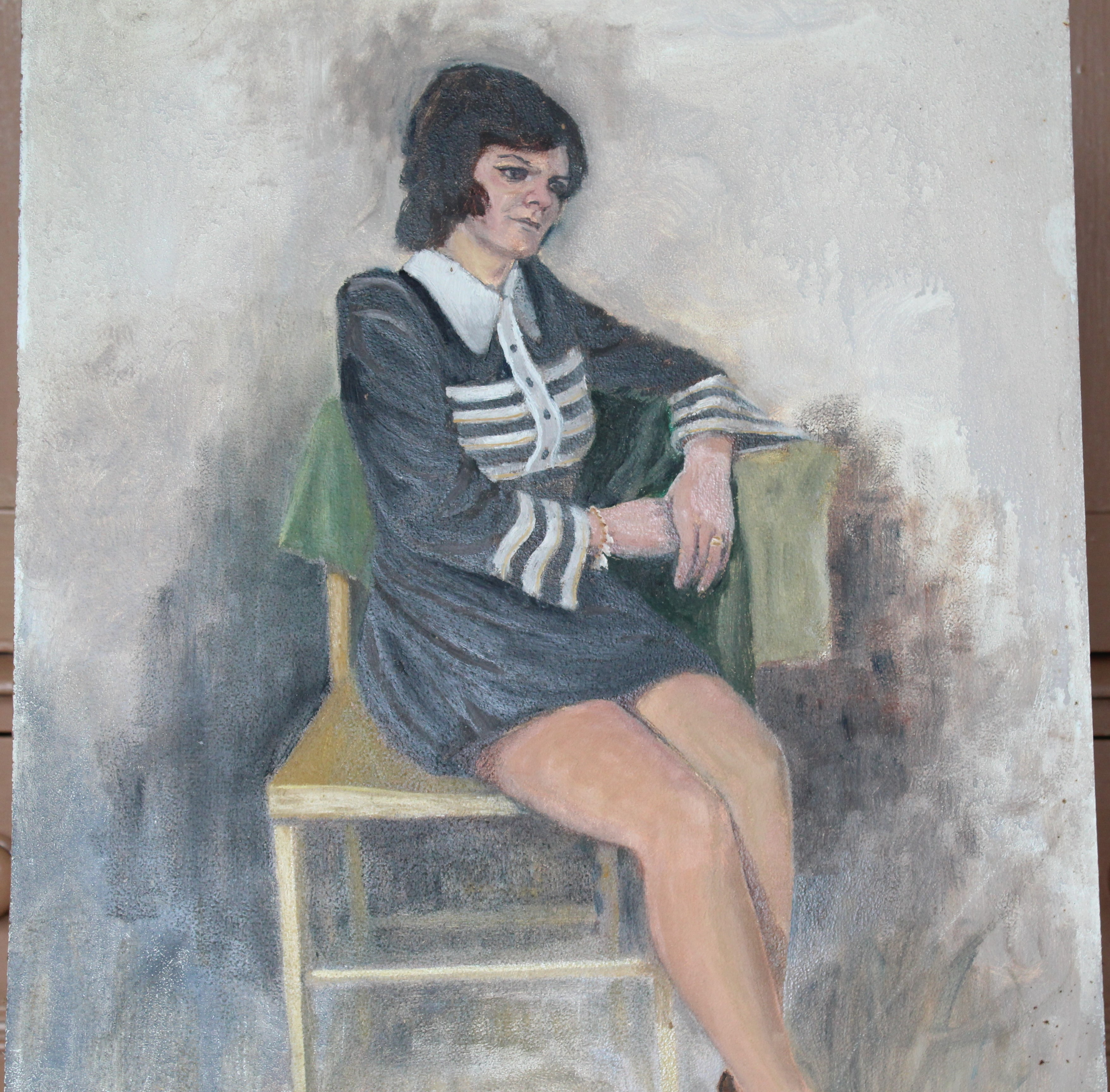 •YOUNG WOMAN SEATED ON CHAISE LONGUE Unsigned unframed oil on board, 61 x 45cm and six other oils of - Image 2 of 7