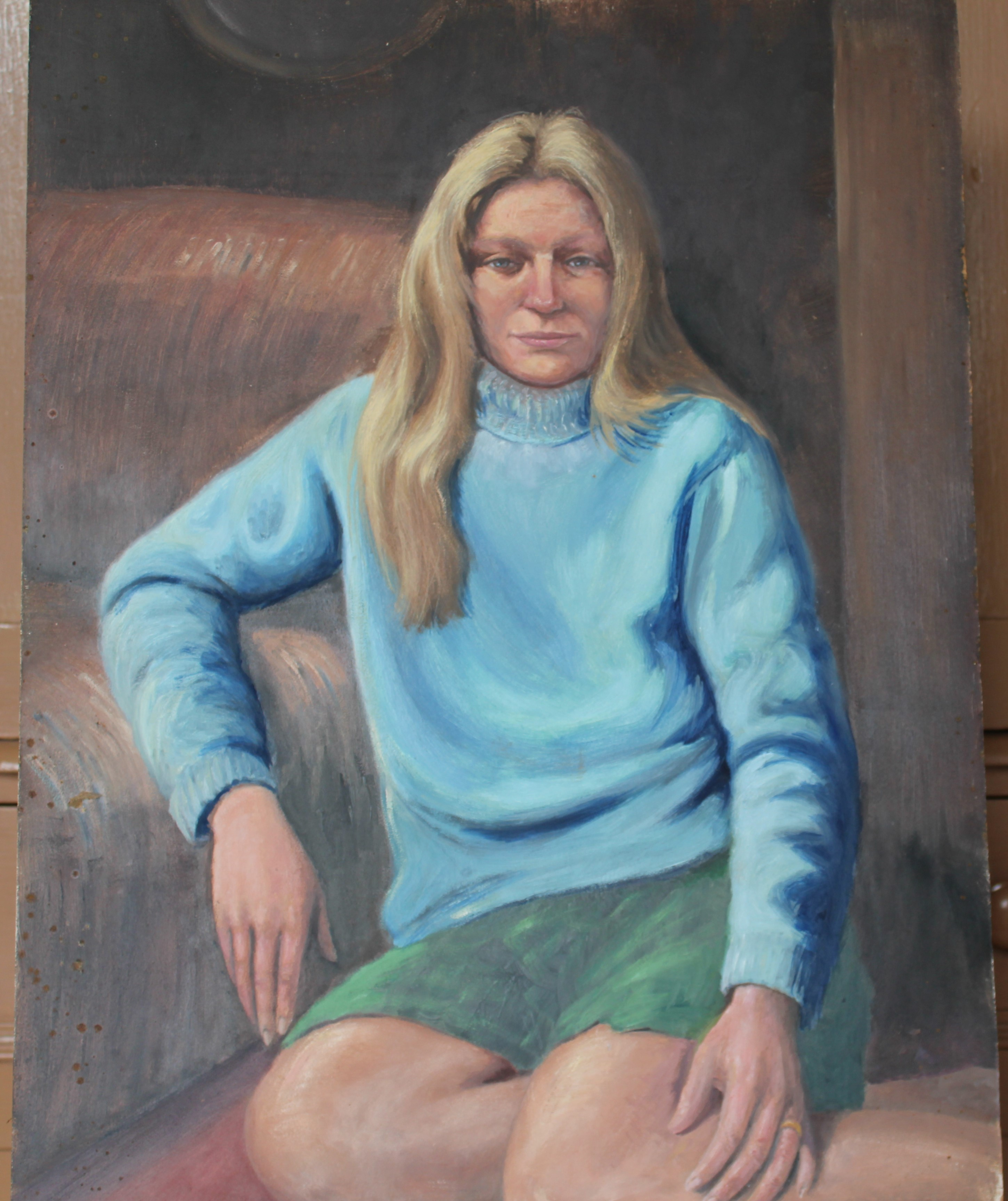 •PORTRAIT OF A WOMAN WEARING A BLUE TOP Unsigned unframed oil on board, 50 x 40.5cm and a collection - Image 9 of 9