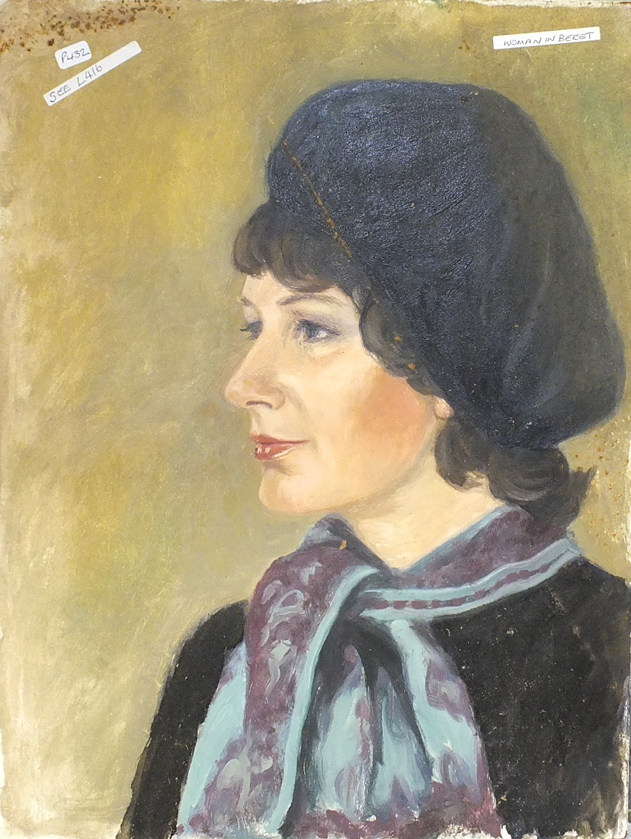 •PORTRAIT OF WOMAN WEARING A BERET Unsigned unframed oil on board, 40 x 30cm, together with five