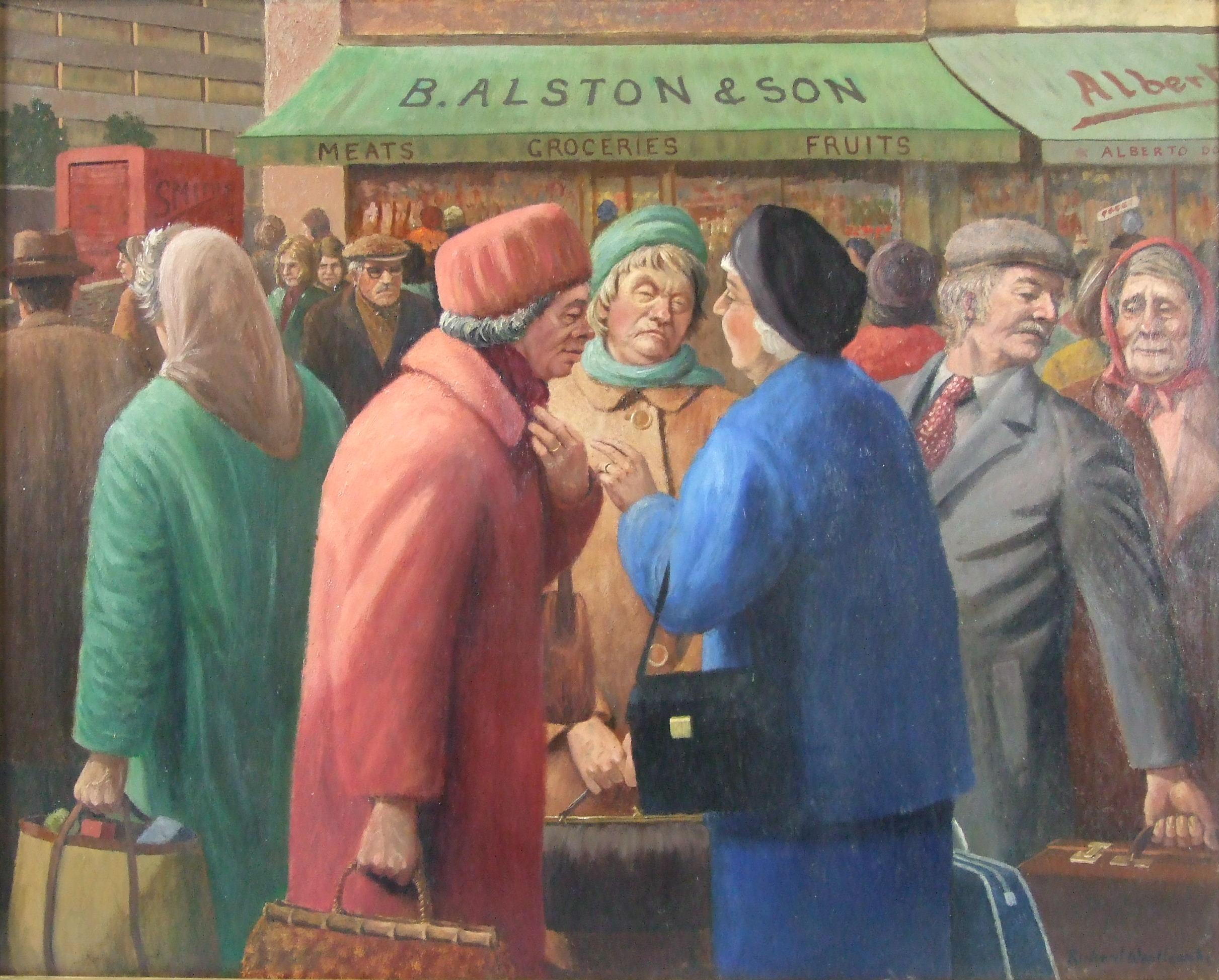 •THE GOSSIPS, THREE WOMEN TALKING AMONGST A CROWD OUTSIDE A SHOP Signed, framed oil on board, 59.5 x
