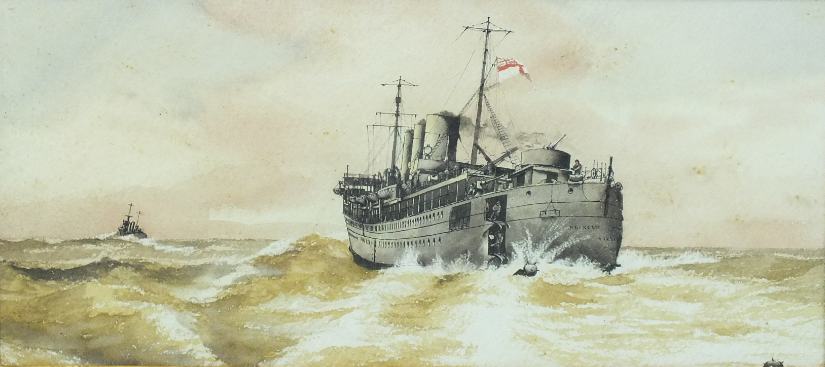 Lot 68 - 20th century A WWII MINE-LAYING SHIP Unsigned watercolour, 16.5 x 36cm and a companion, a pair, (