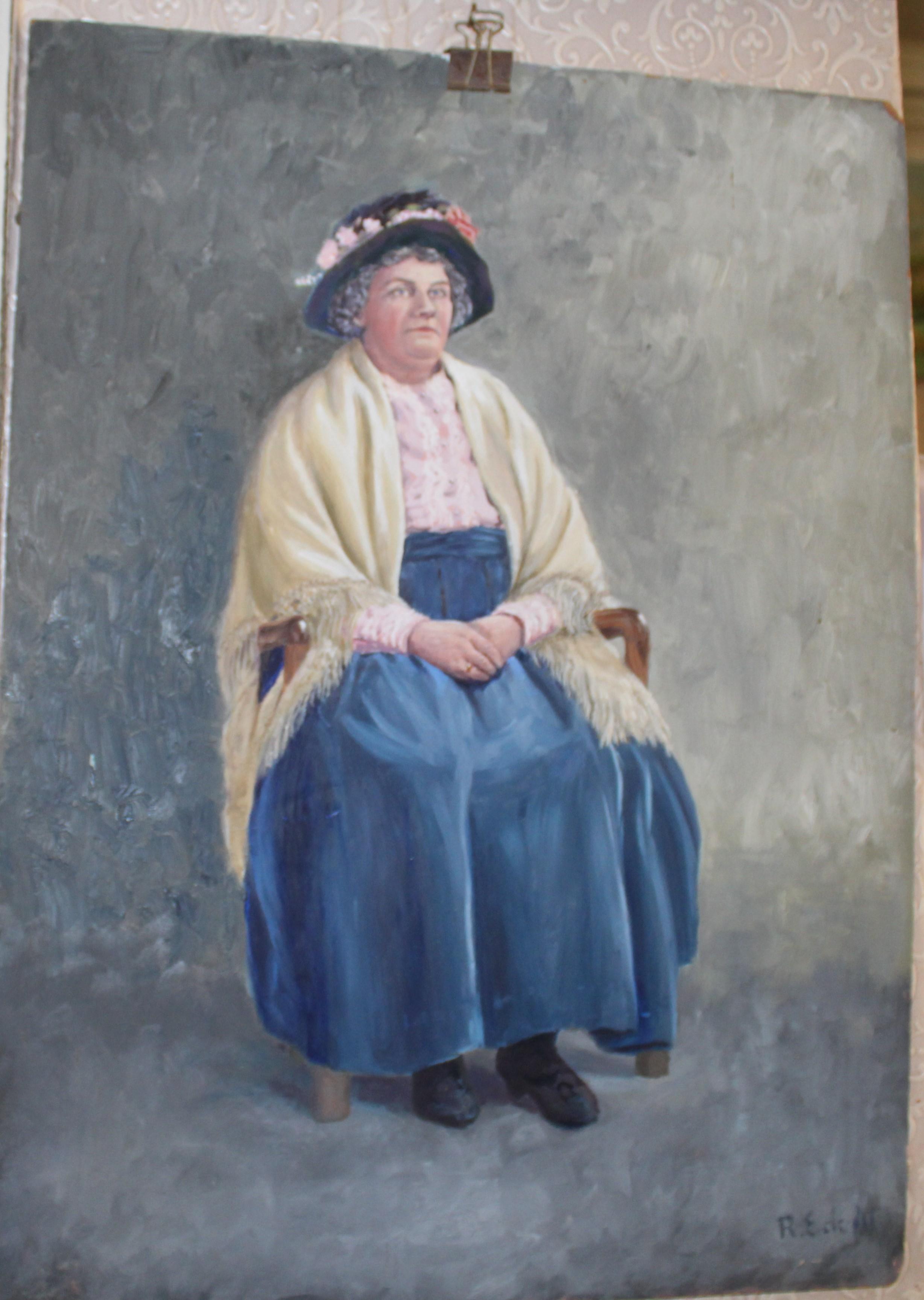 •COSTER WOMAN Signed unframed oil on board, 60 x 44.5cm, titled on International Amateur Art