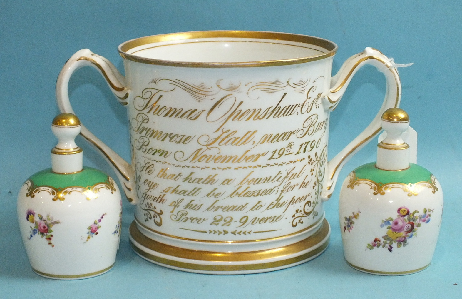 Lot 392 - A 19th century Staffordshire porcelain loving cup commemorating the birth of Thomas Openshaw 1790,