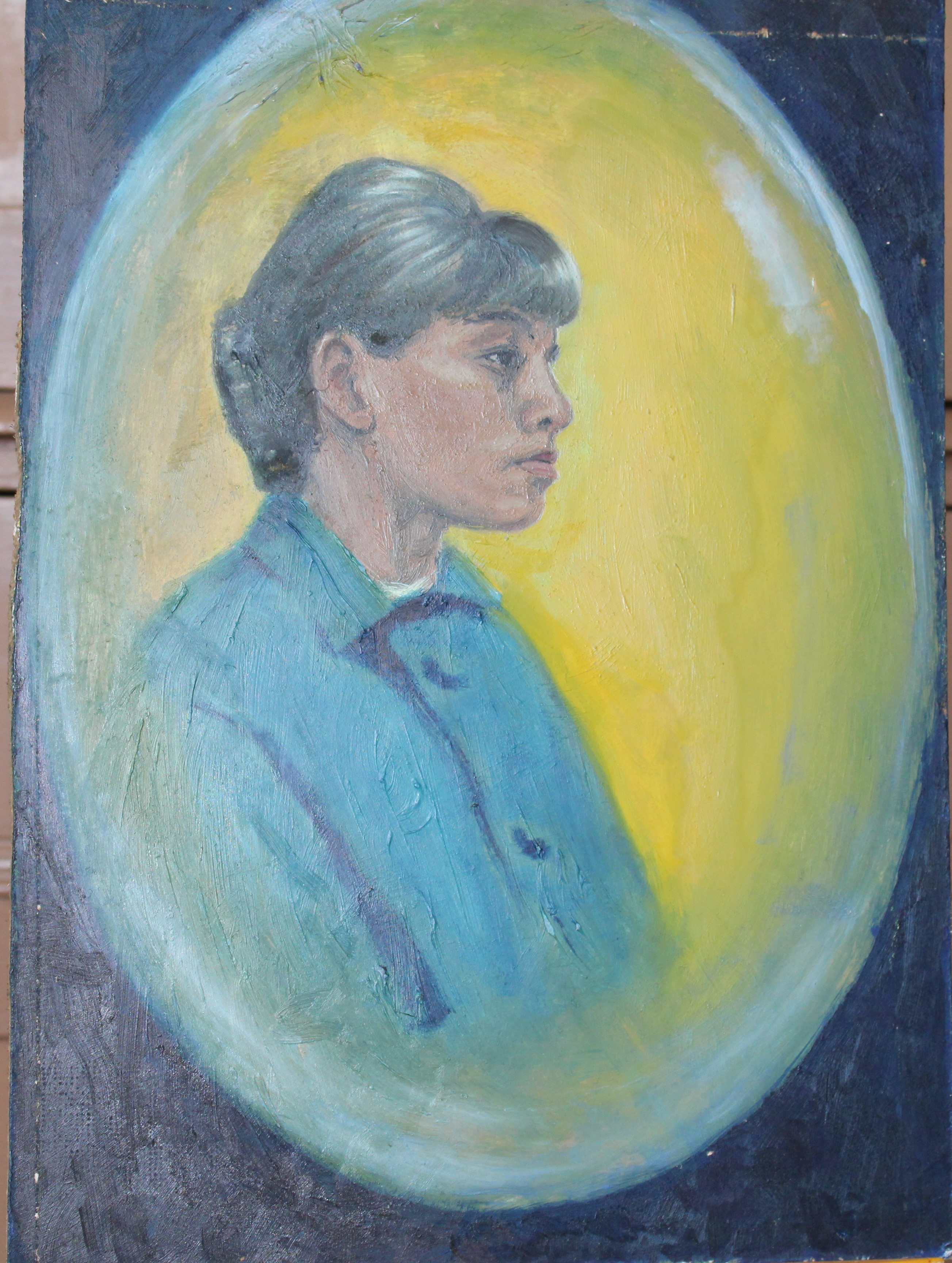 •PORTRAIT OF A YOUNG ORIENTAL WOMAN Signed unframed oil on board, 40.5 x 30.3cm and five other - Image 2 of 4