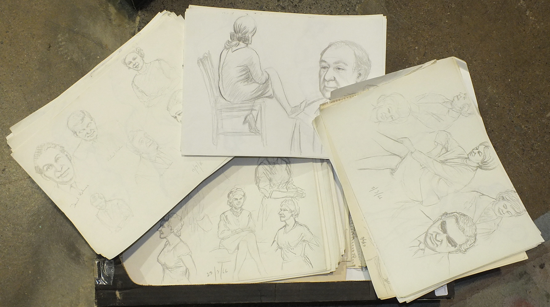 •A large collection of artists pencil sketches, mainly head and shoulder portraits and most dated