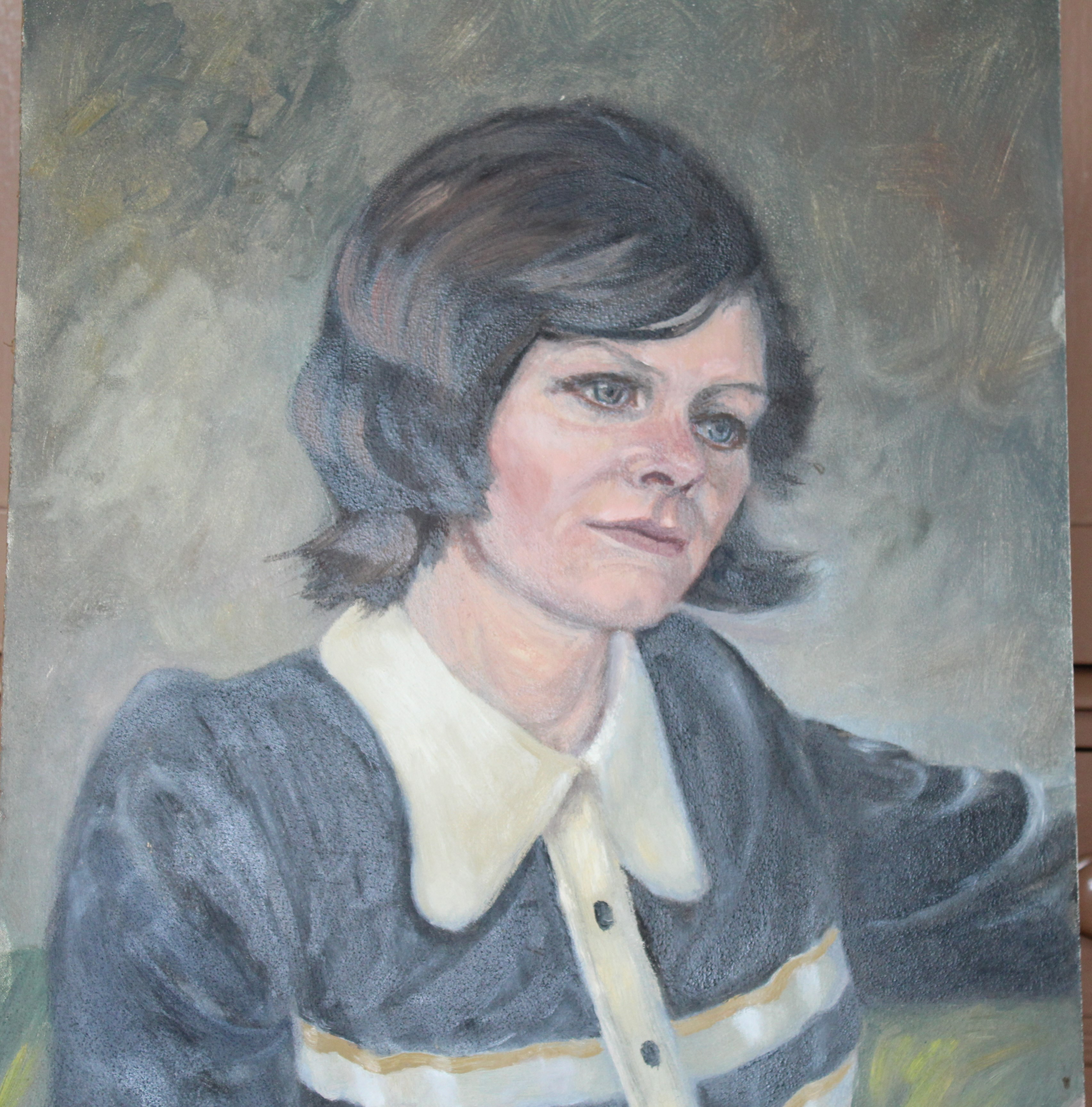 •PORTRAIT OF A WOMAN WEARING A BLUE TOP Unsigned unframed oil on board, 50 x 40.5cm and a collection - Image 2 of 9