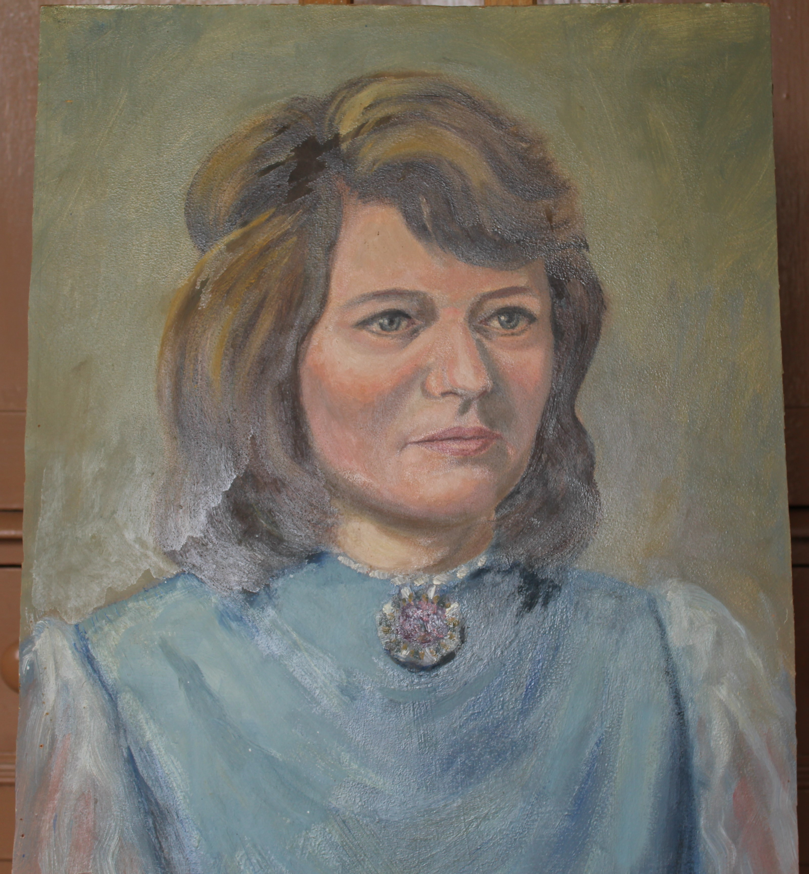 •PORTRAIT OF A WOMAN WEARING A BLUE TOP Unsigned unframed oil on board, 50 x 40.5cm and a collection - Image 3 of 9