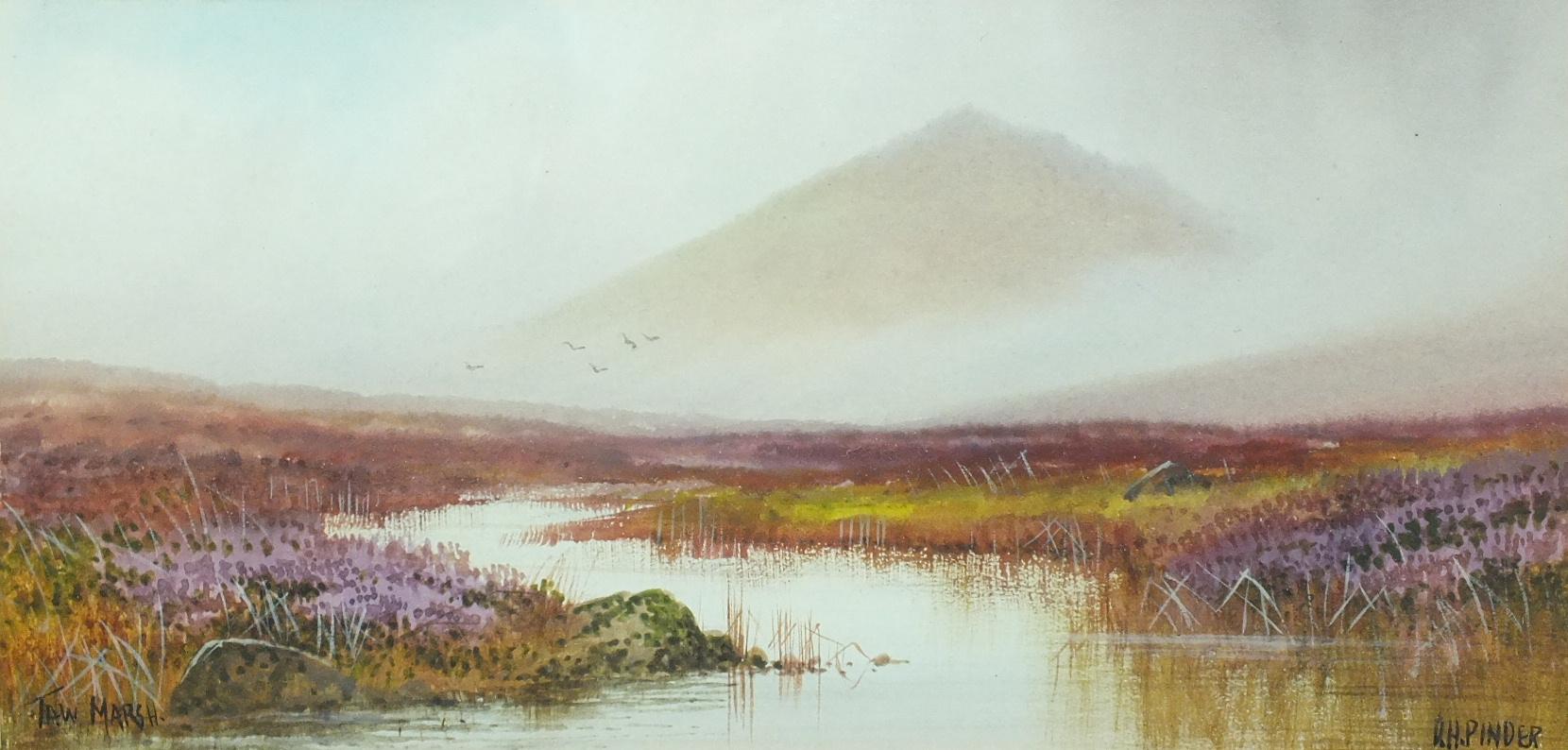 Lot 69 - •Douglas Houzen Pinder (1886-1949) TOR MARSH Signed and titled watercolour, 11.5 x 24cm, a companion