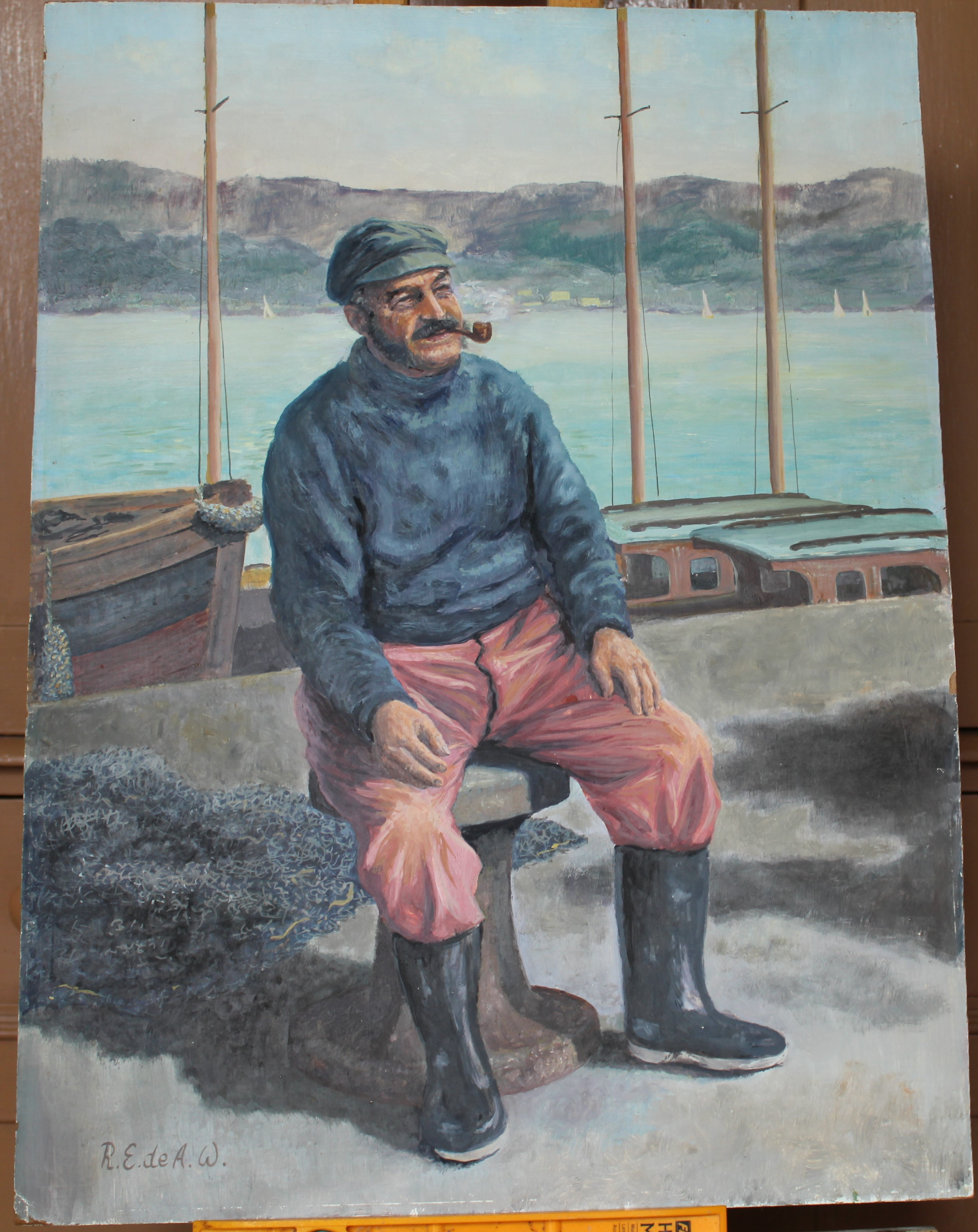•FISHERMAN SMOKING A PIPE, SITTING ON A CAPSTAN Signed, unframed oil on board, 60.5 x 45cm and two
