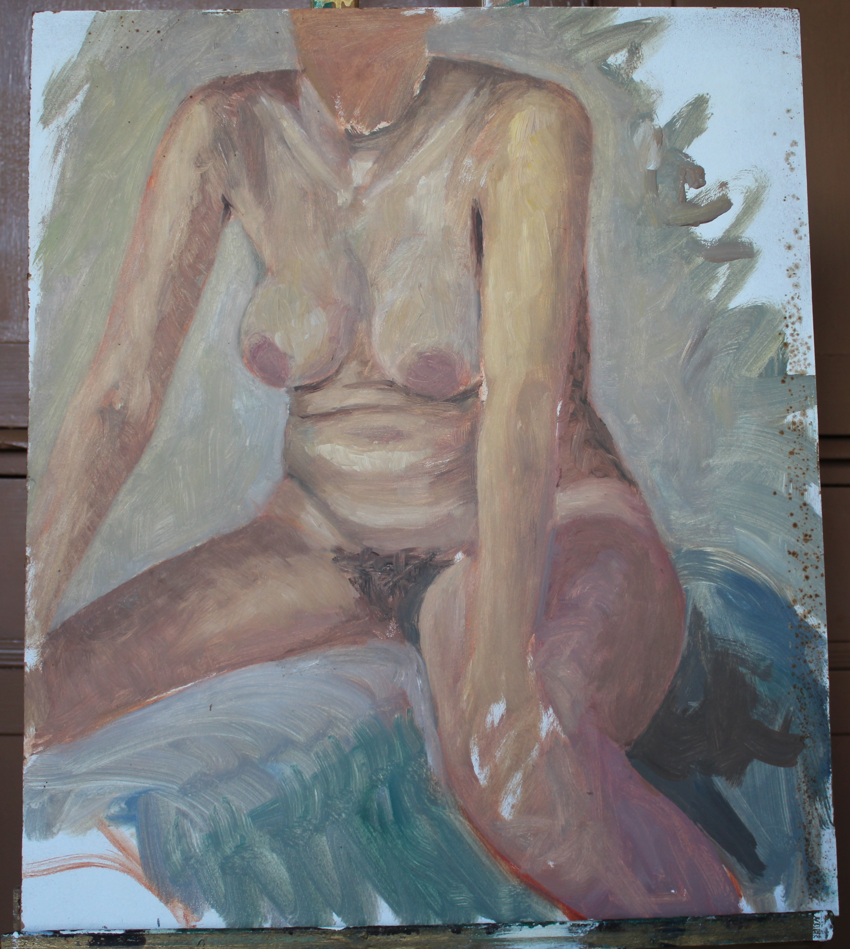•STUDY OF A NUDE WOMAN IN GREEN-DRAPED ARMCHAIR Unsigned unframed oil on board, 40 x 31cm, STUDY - Image 7 of 7