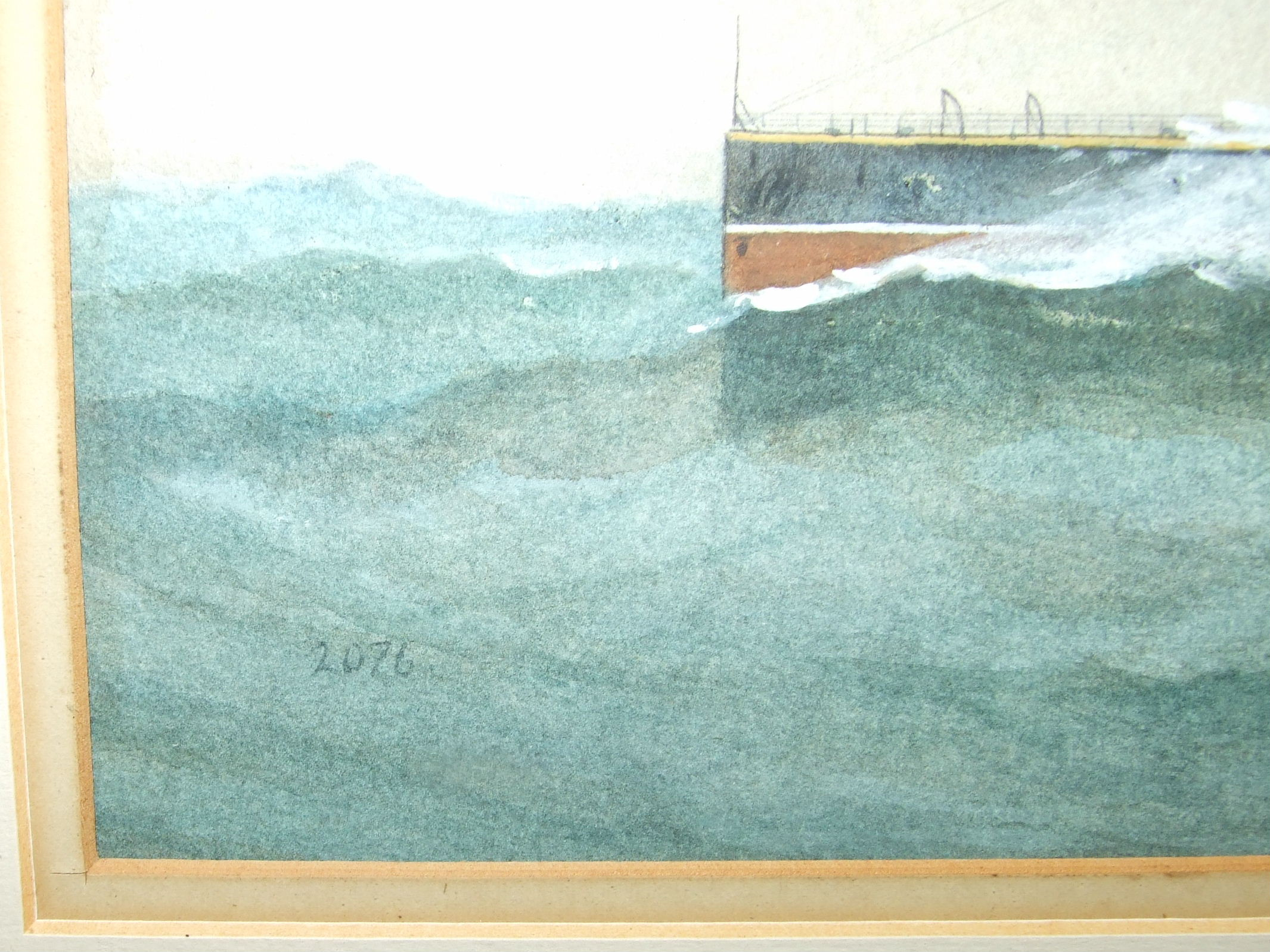 W Fred Mitchell (1845-1914) HMS CAMPERDOWN Signed watercolour, dated 1903 and numbered 2076, 24.5 - Image 3 of 3