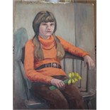 •PORTRAIT OF A GIRL WITH DAFFODILS Unsigned unframed oil on board, 41 x 30cm, GIRL SEATED ON A BED