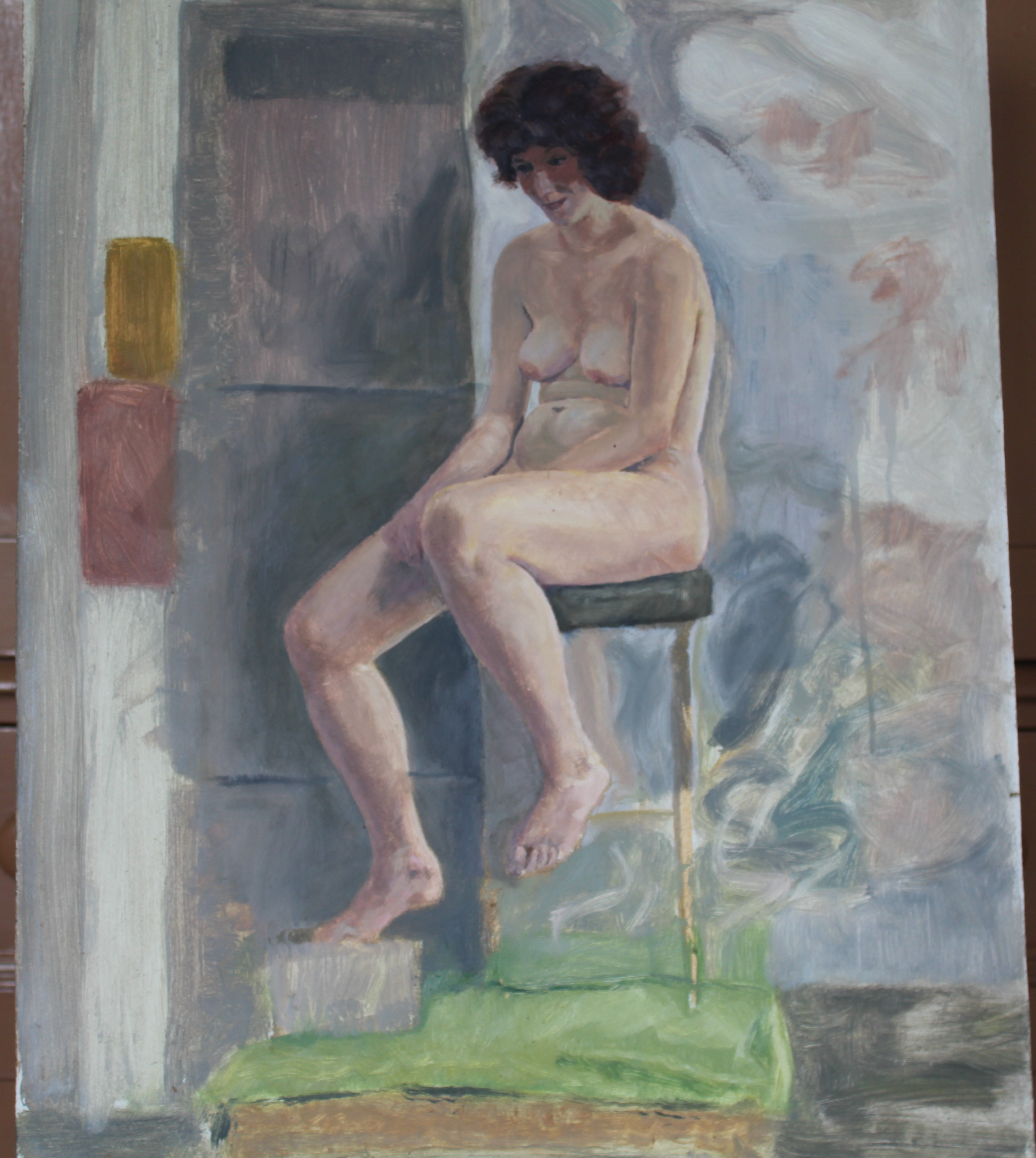 •STUDY OF A NUDE WOMAN IN GREEN-DRAPED ARMCHAIR Unsigned unframed oil on board, 40 x 31cm, STUDY - Image 2 of 7