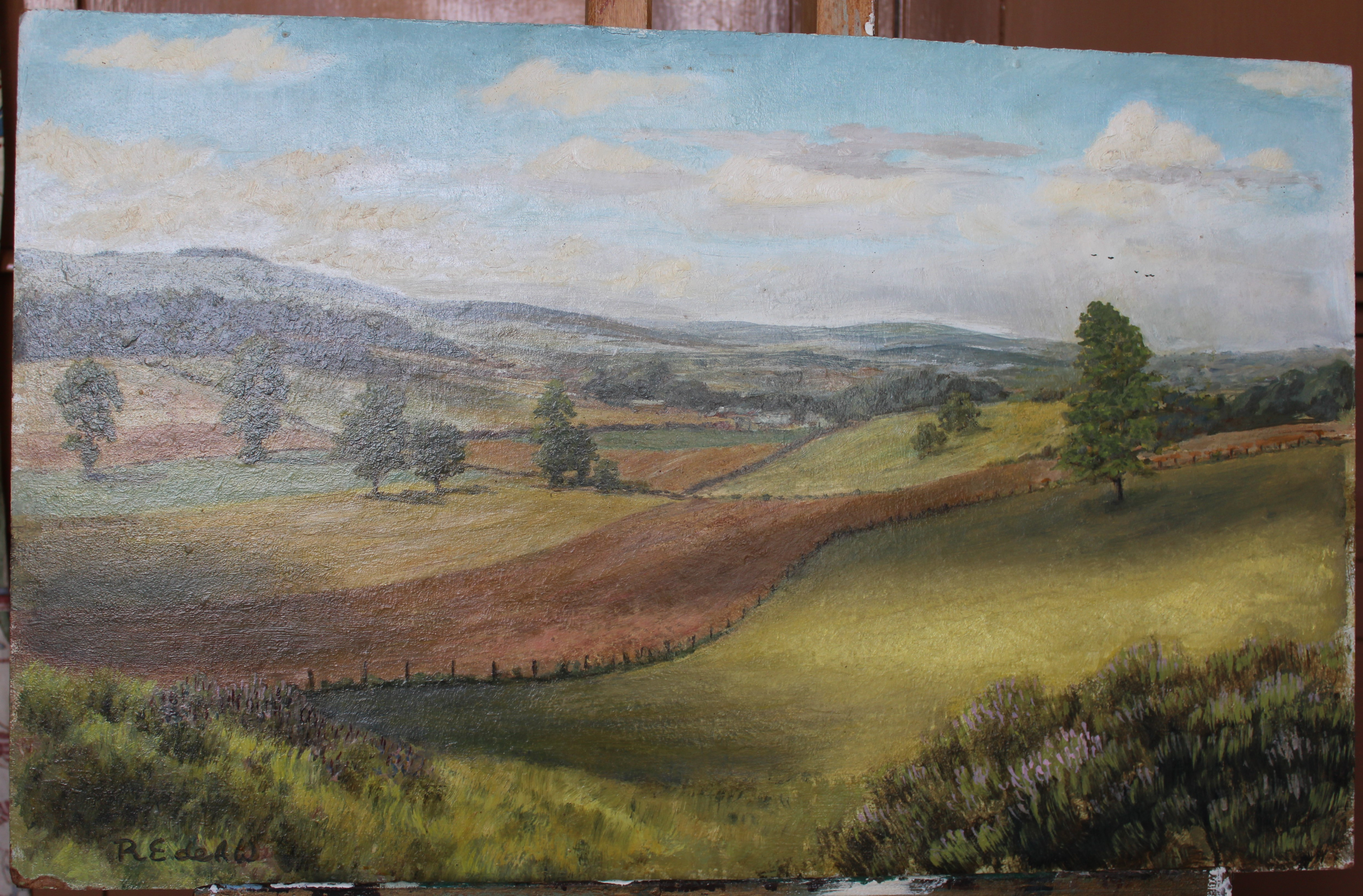 •VIEW FROM KILLERTON Unsigned unframed oil on board, 38 x 61cm and a companion, KILLERTON, 38 x