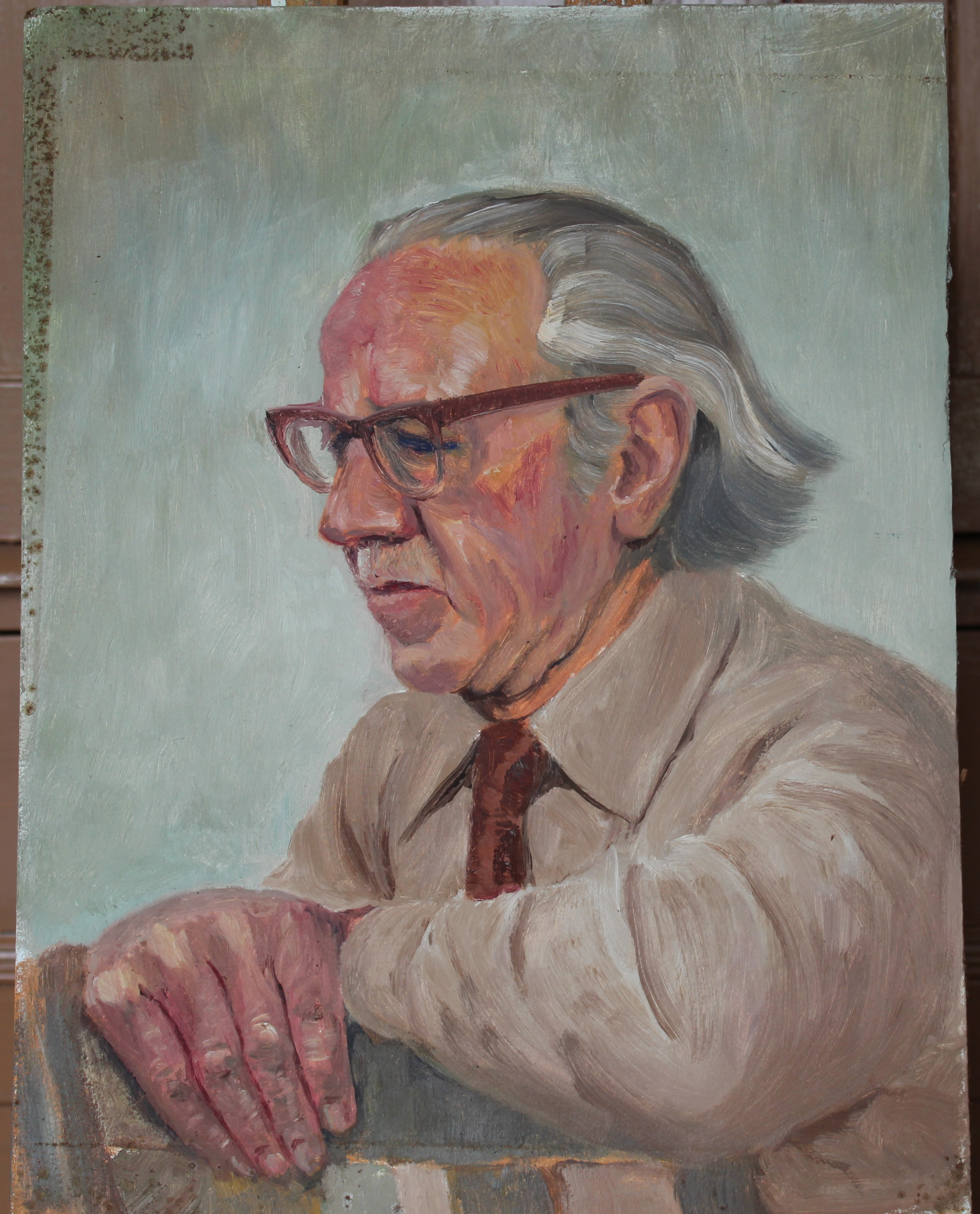 •COMMANDER HAMMET SEATED IN A WING ARMCHAIR Unsigned unframed oil on board, 50.5 x 40.5cm, titled - Image 4 of 8