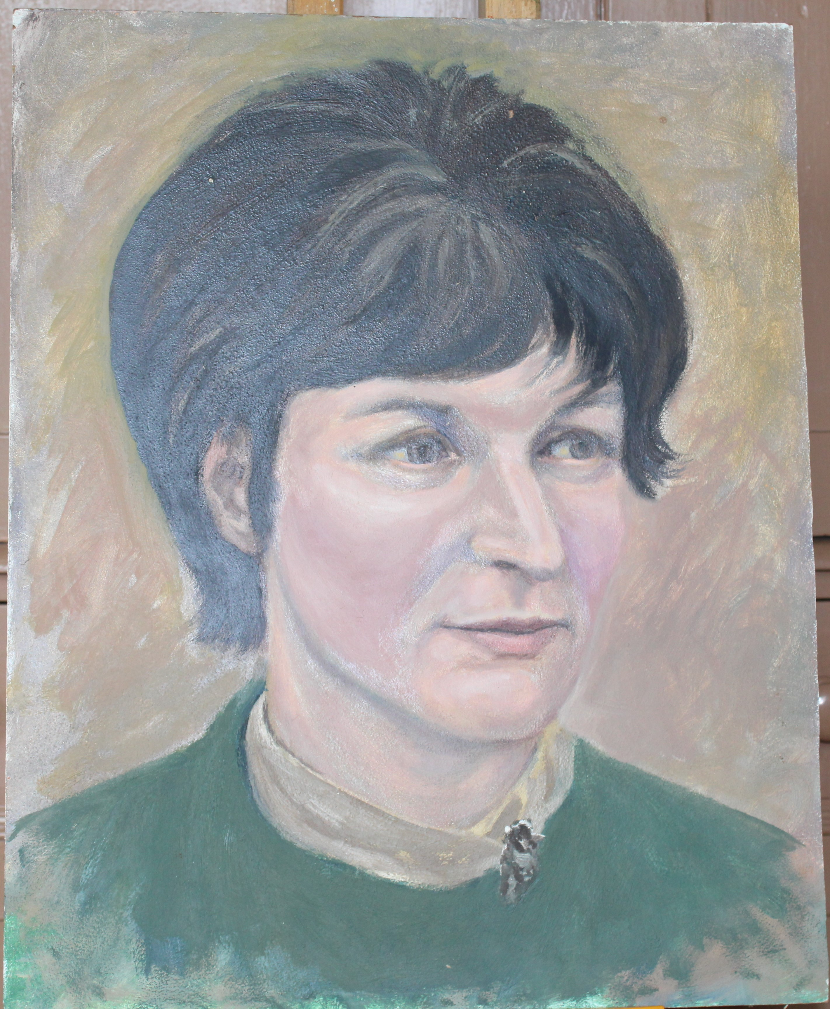 •PORTRAIT OF A WOMAN WEARING A BLUE TOP Unsigned unframed oil on board, 50 x 40.5cm and a collection - Image 4 of 9
