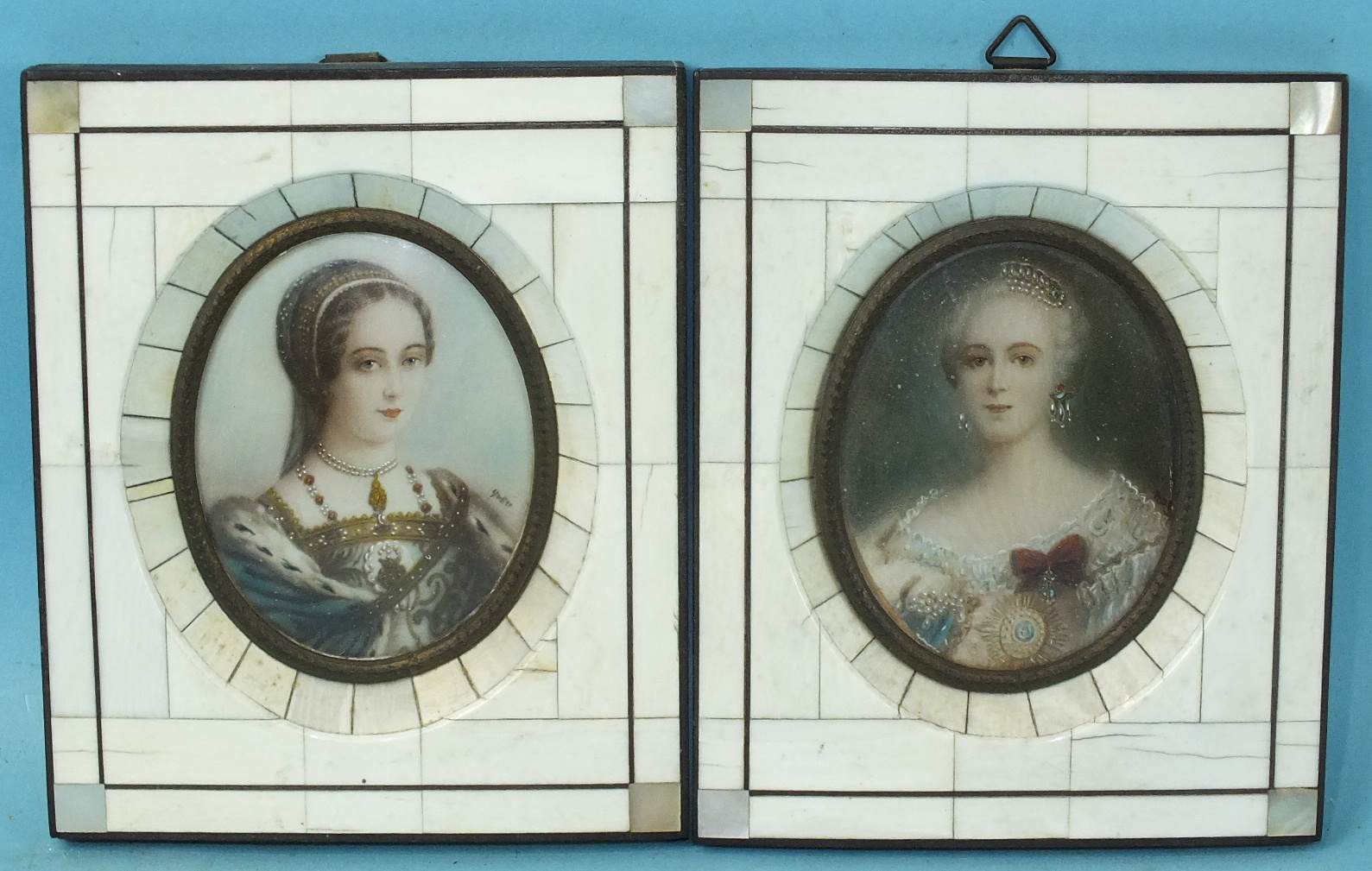 Lot 82 - A pair of early-20th century portrait miniatures of noble women adorned with jewellery, 8.5 x