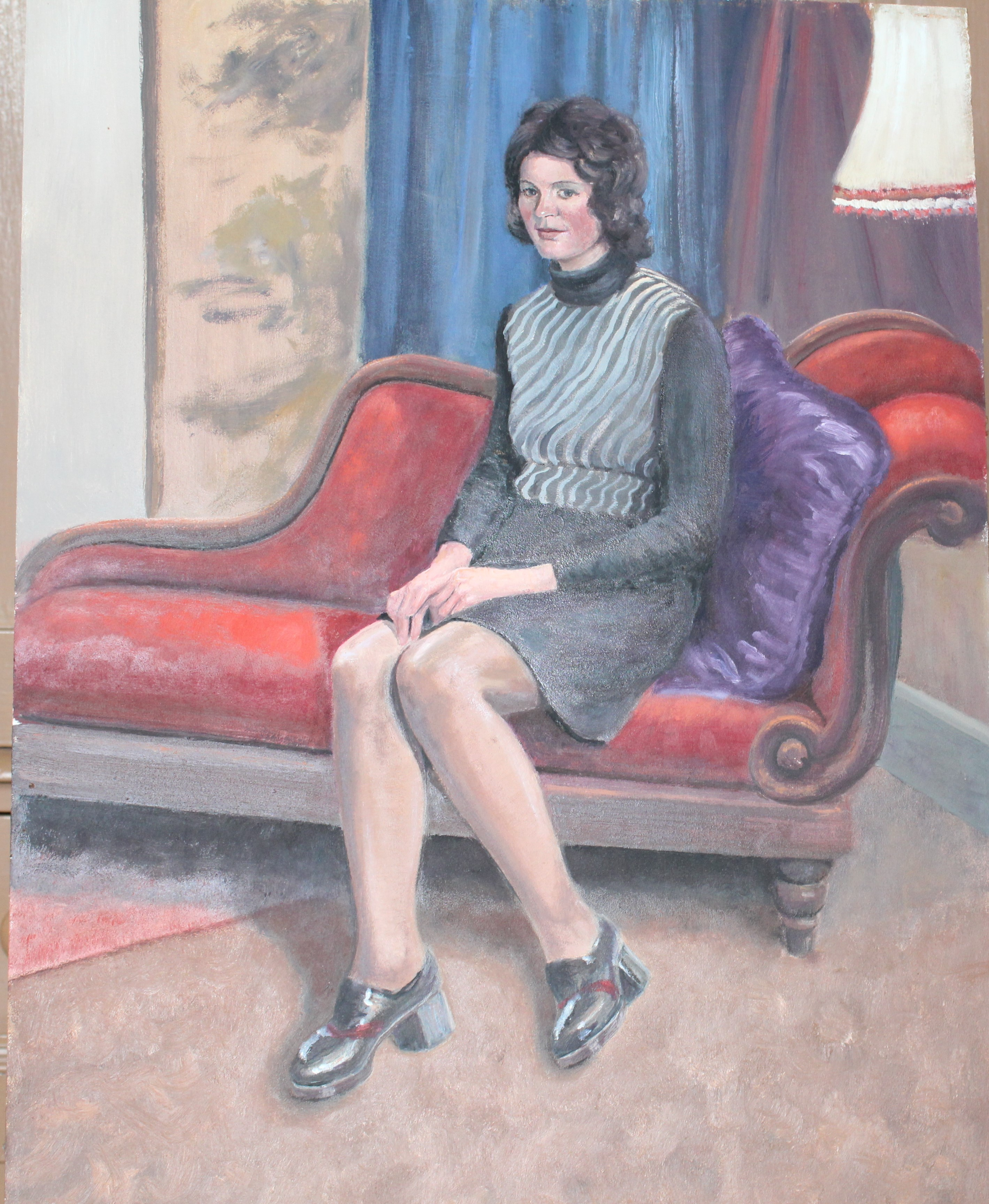 •YOUNG WOMAN SEATED ON CHAISE LONGUE Unsigned unframed oil on board, 61 x 45cm and six other oils of