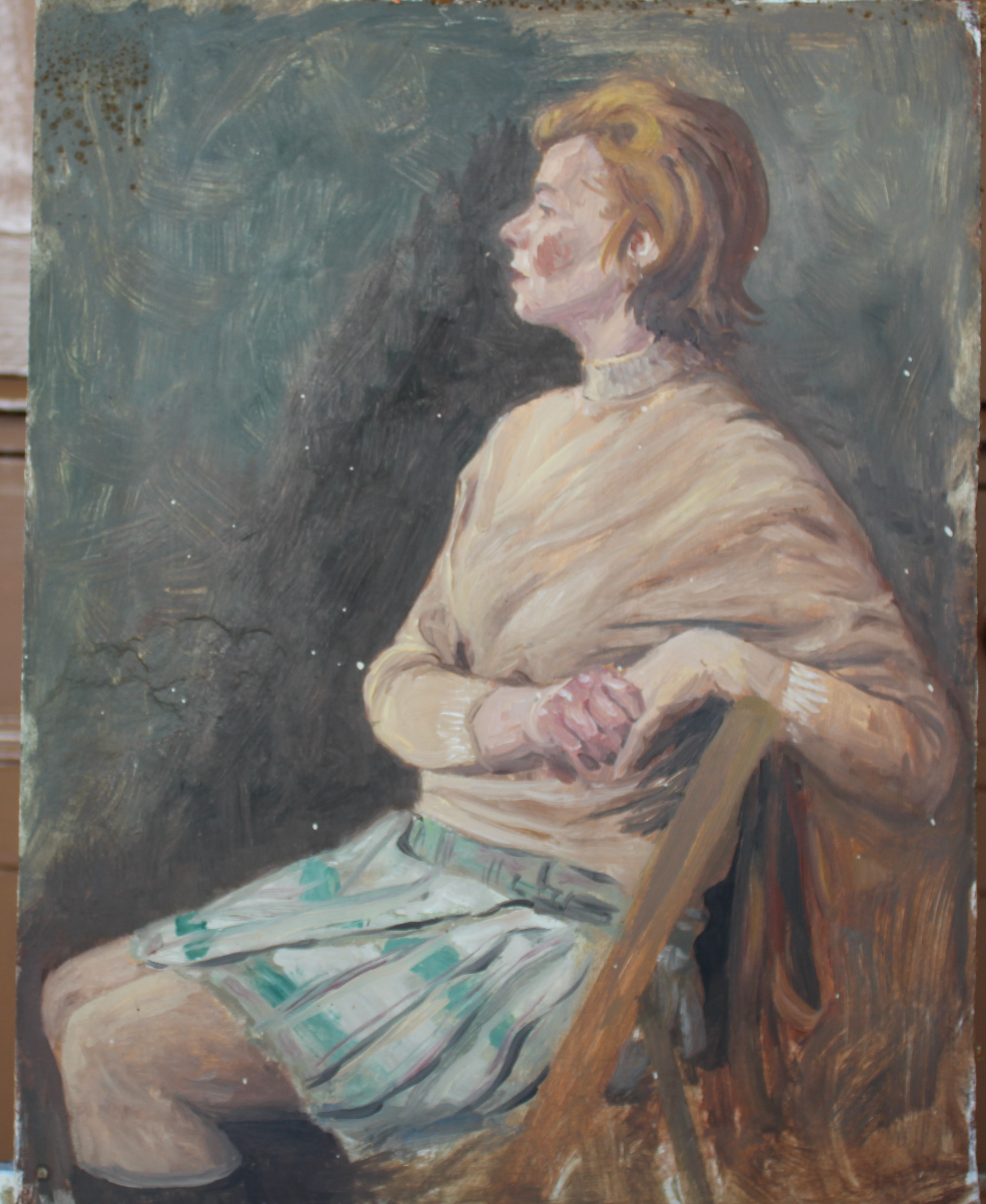 •DAY DREAM, WOMAN SEATED WEARING RED JACKET AND DRESS Signed unframed oil on board, 60 x 44.3cm, - Image 6 of 6