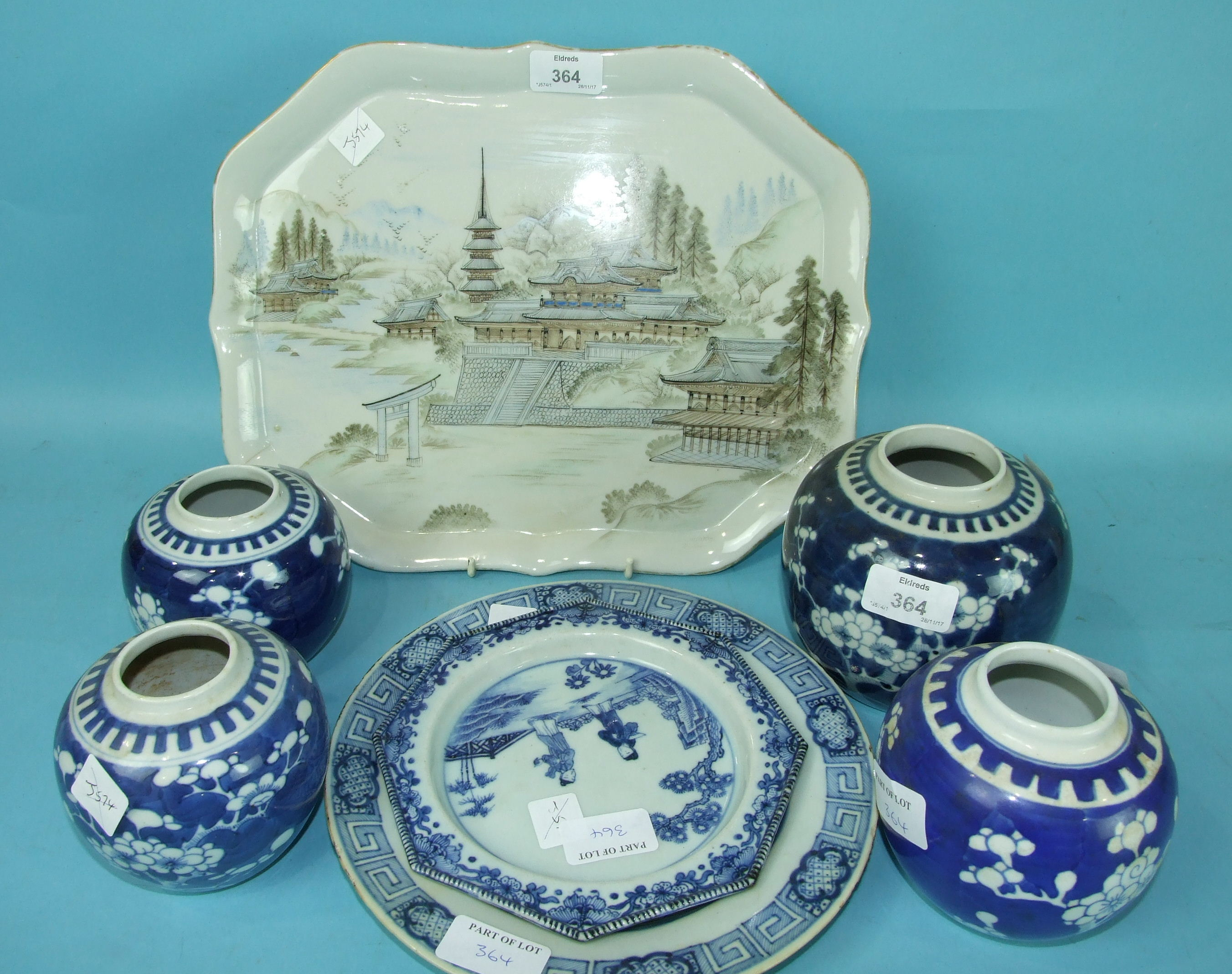 Lot 364 - A small 18th century Chinese octagonal plate decorated with figures, 17.5cm diameter, a similar