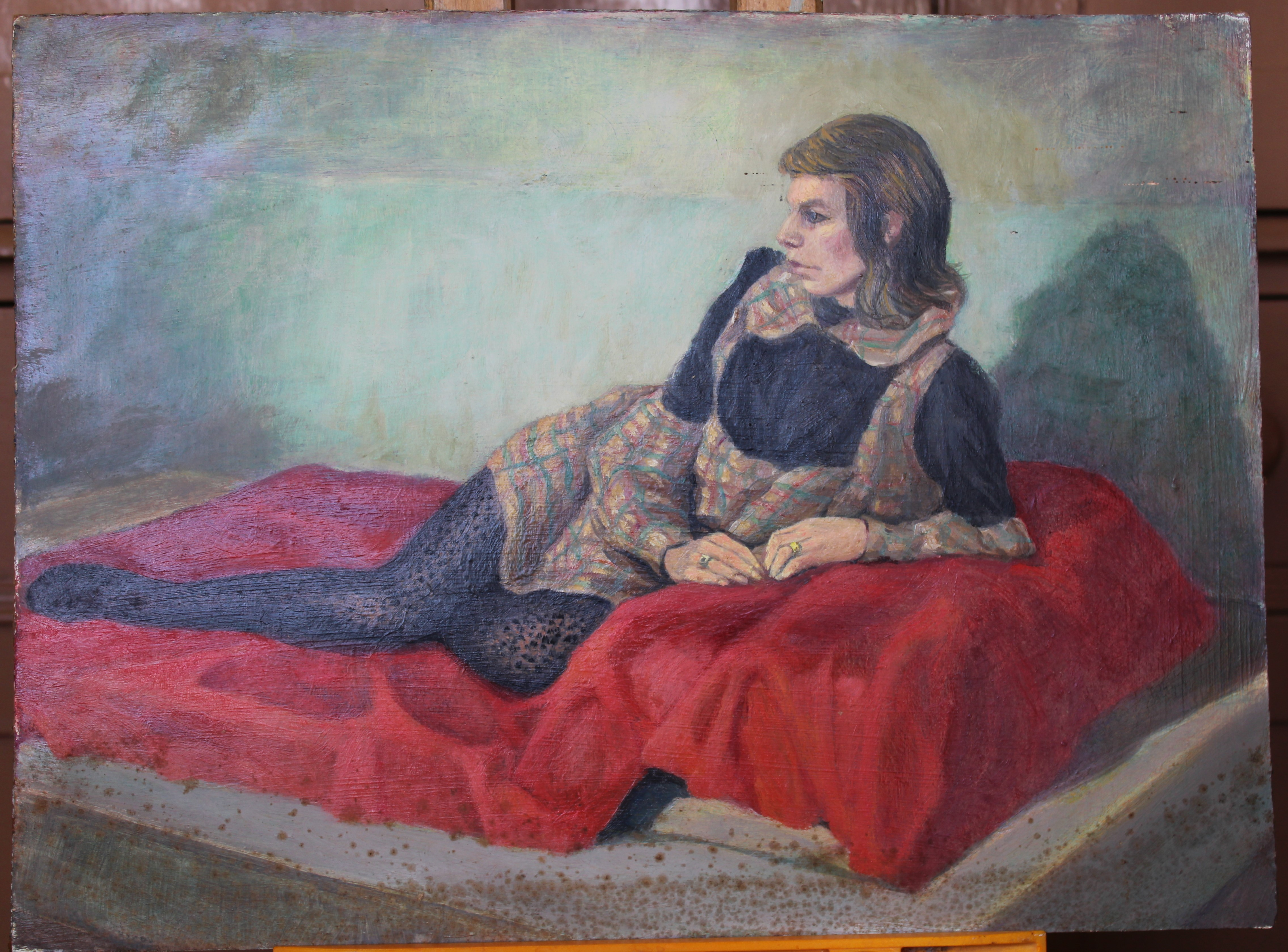 •WOMAN WEARING A GREEN COAT WITH UMBRELLA, SEATED ON A SEA WALL Signed, unframed oil on board, 51 - Image 5 of 7