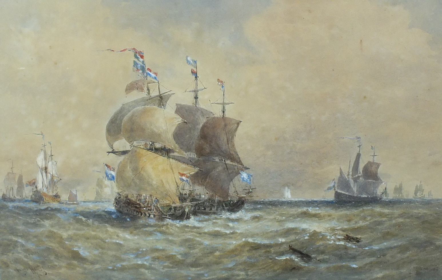 Lot 84 - 19th century DUTCH MEN OF WAR AT SEA Indistinctly-signed watercolour, 31 x 49cm, (faded).