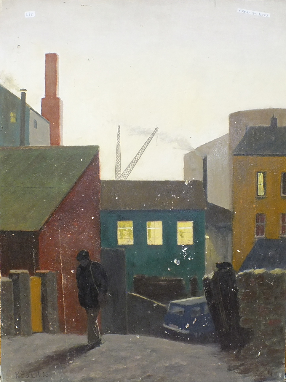 •MAN LEAVING THE DOCKYARD ENTRANCE Signed, unframed oil on board, 60.5 x 45cm and three unsigned