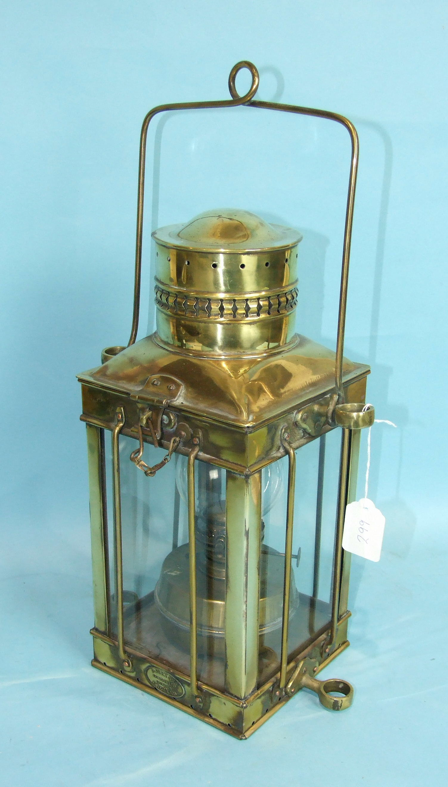 Lot 299 - A brass hanging four-glass lantern by Davey & Co, London, Ltd, complete with paraffin burner, 48cm