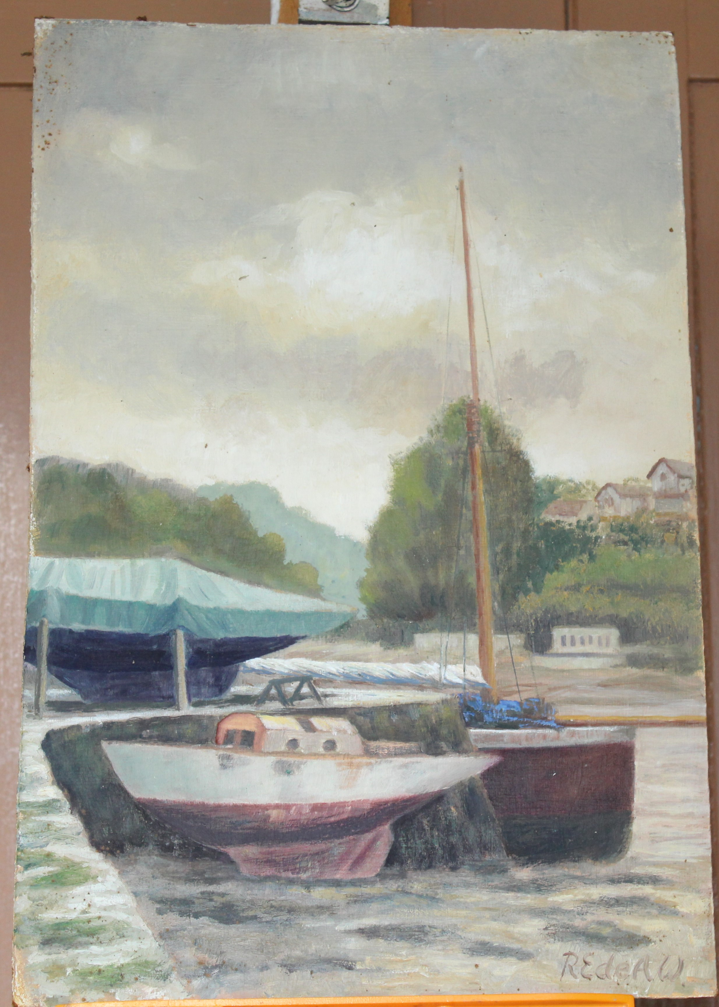 •YEALM FROM KITLEY Signed unframed oil on board, 46 x 61cm, BOATS MOORED IN A CREEK, 46 x 30cm and - Image 4 of 4