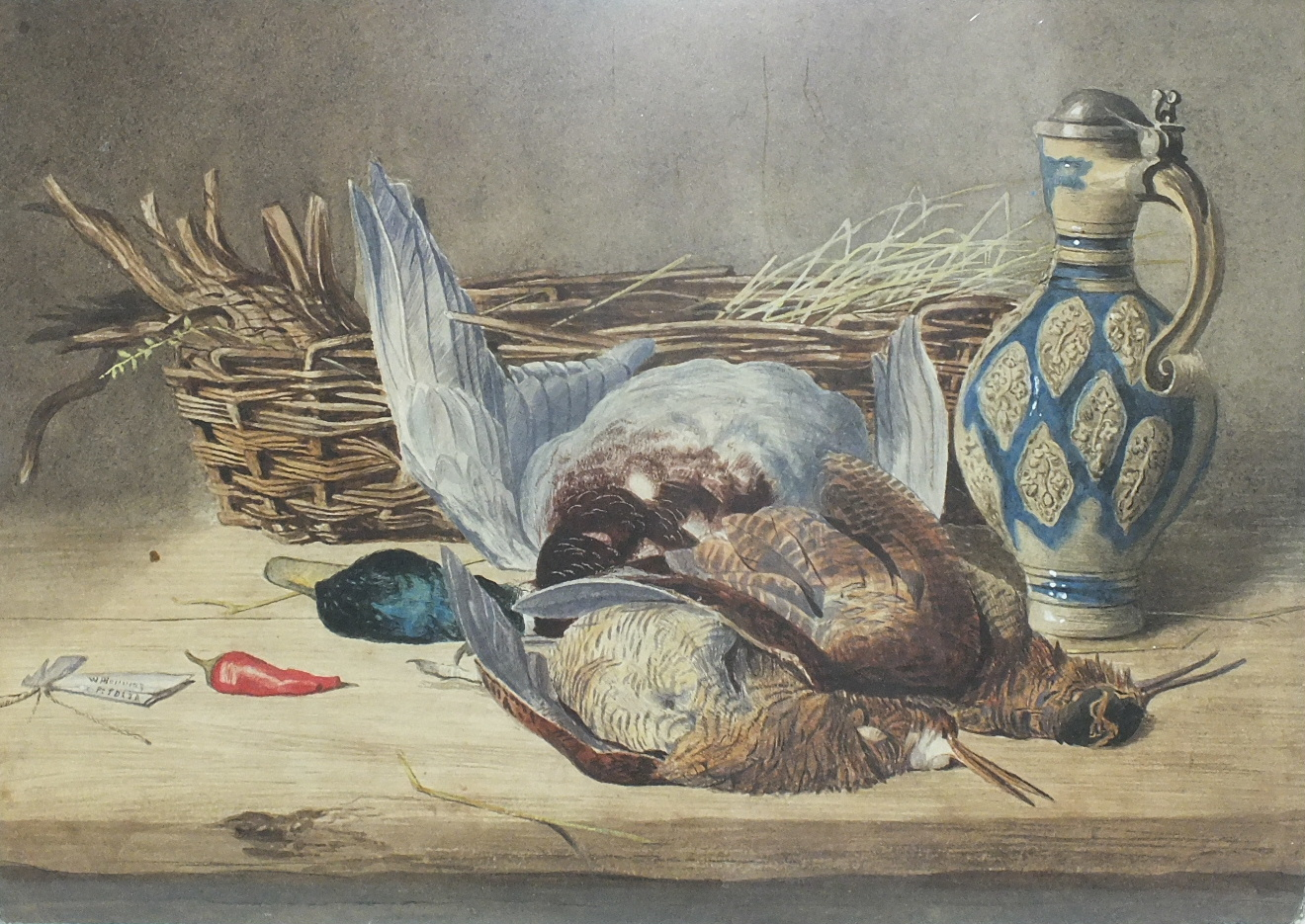 Lot 86 - W F H........ STILL LIFE, DEAD GAME, A BASKET AND STONE JUG Indistinctly-signed watercolour, 22 x