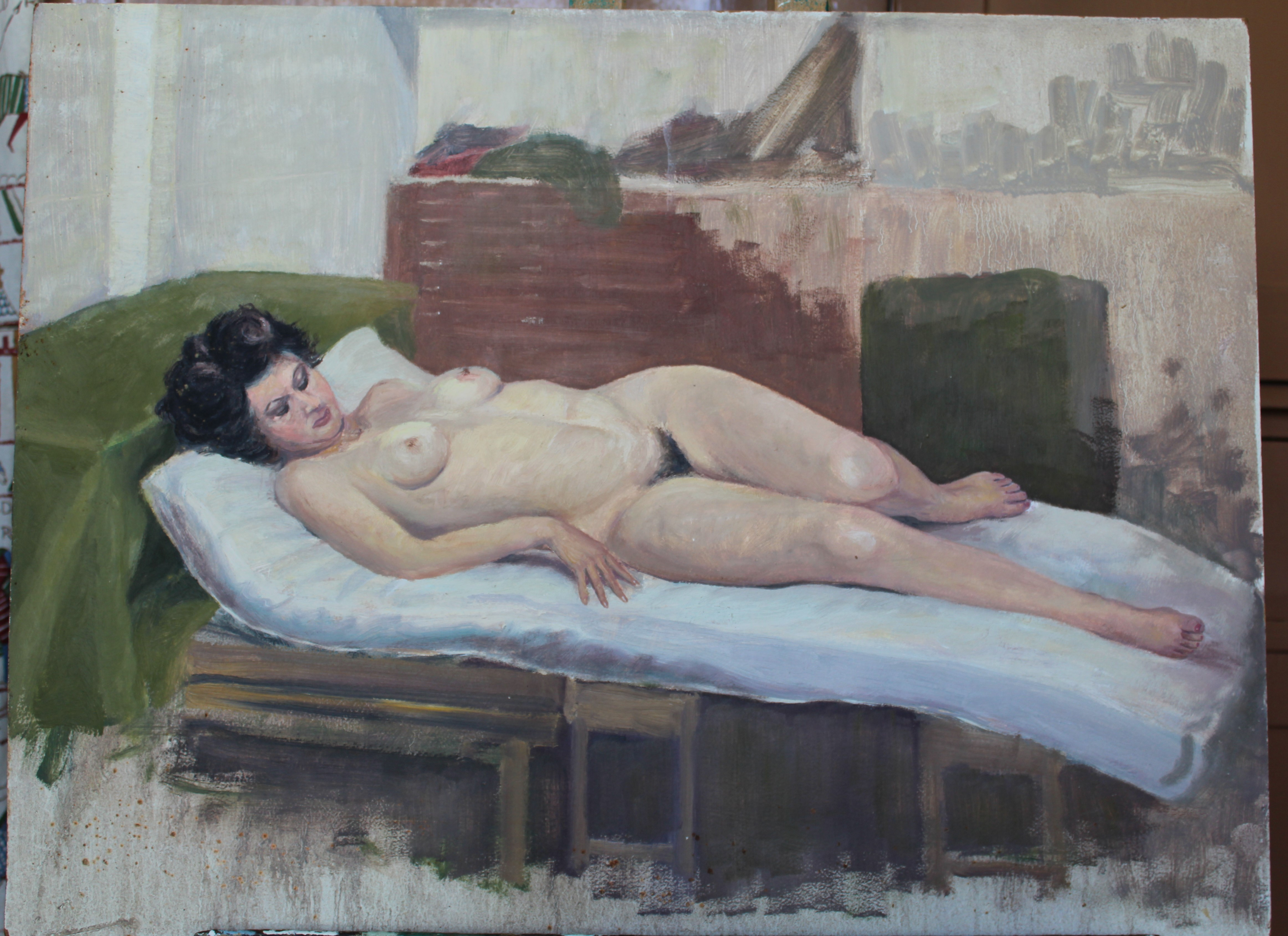 •STUDY OF A FEMALE NUDE RECLINING ON A DAY BED Unsigned unframed oil on board, 46 x 61cm, three - Image 3 of 4